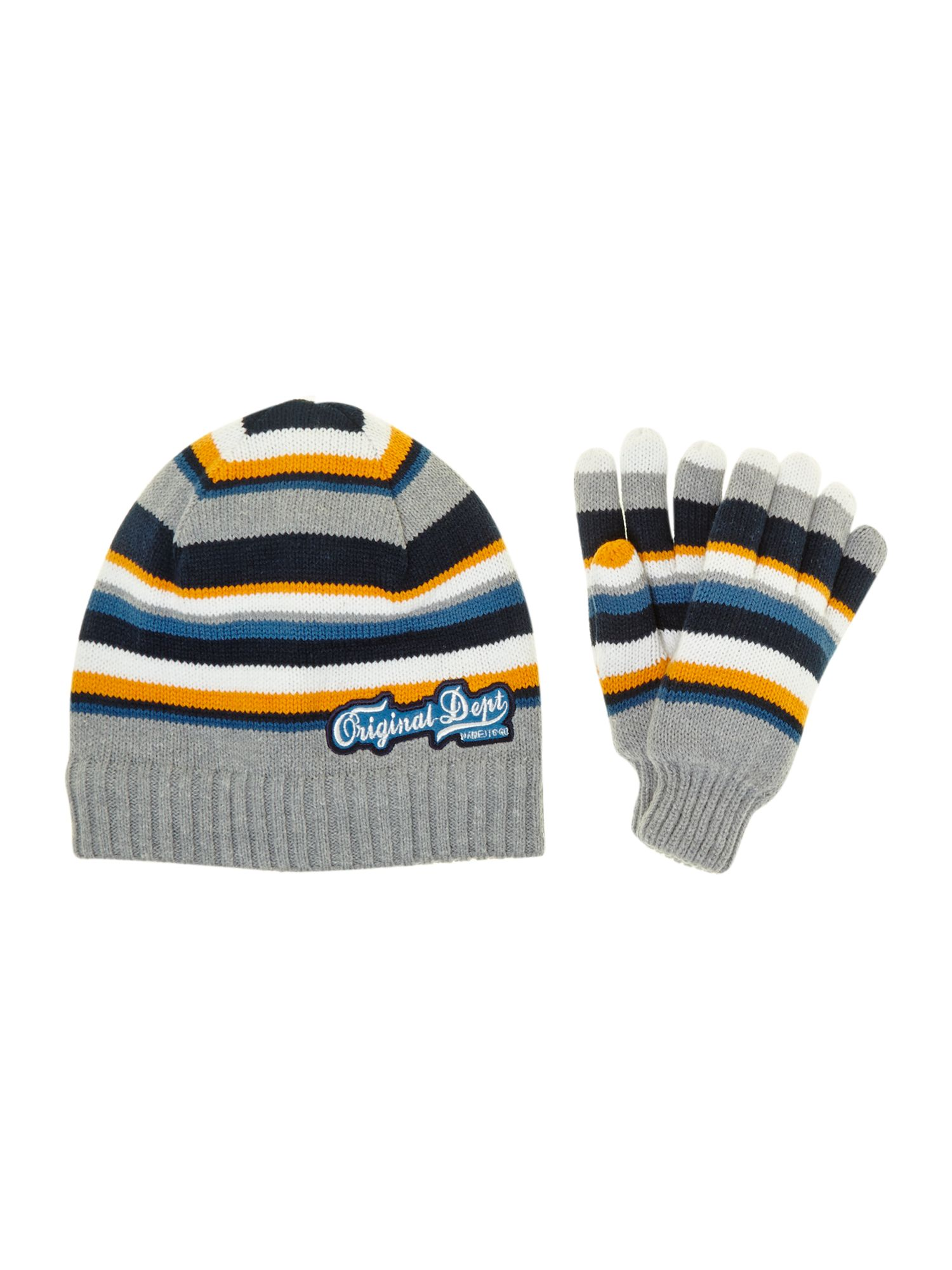 Boy`s striped hat and gloves set