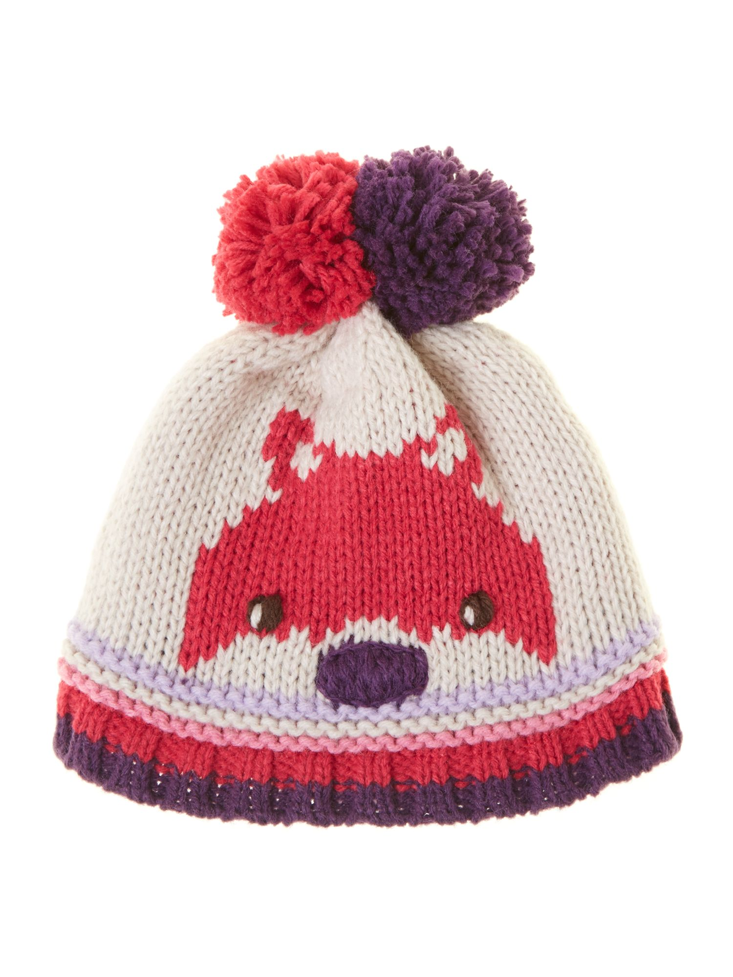 Girl`s knitted pom pom hat