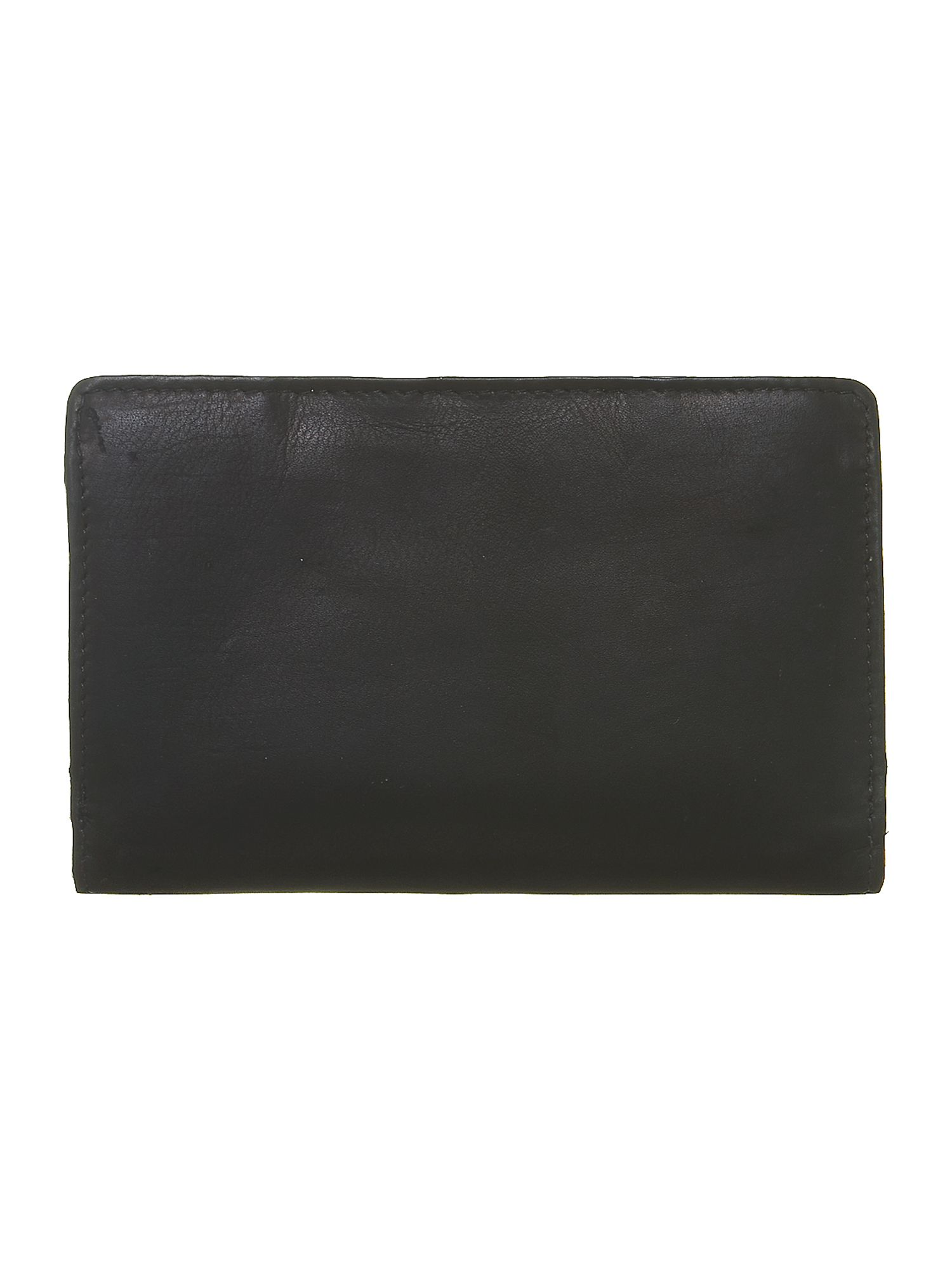 Black with purple internal medium flapover purse