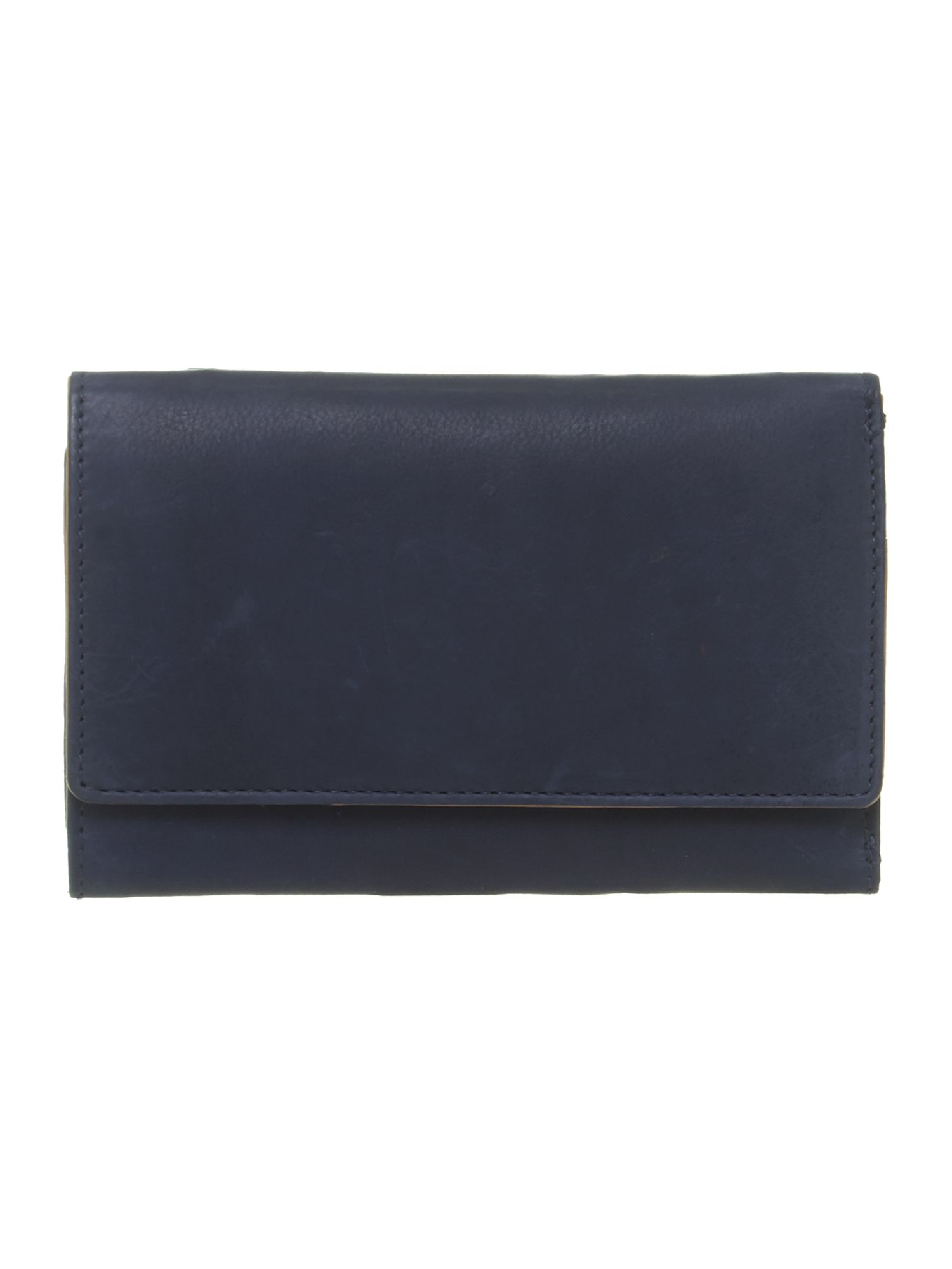 Blue with red internal medium flapover purse
