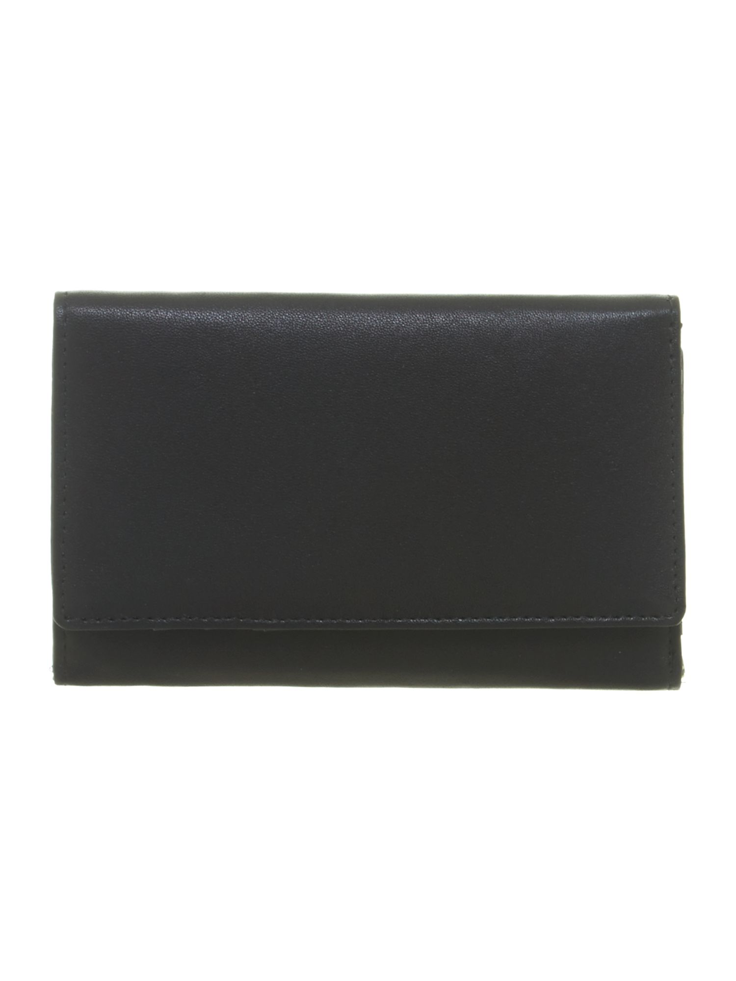 Black spot internal meduim leather flapover purse