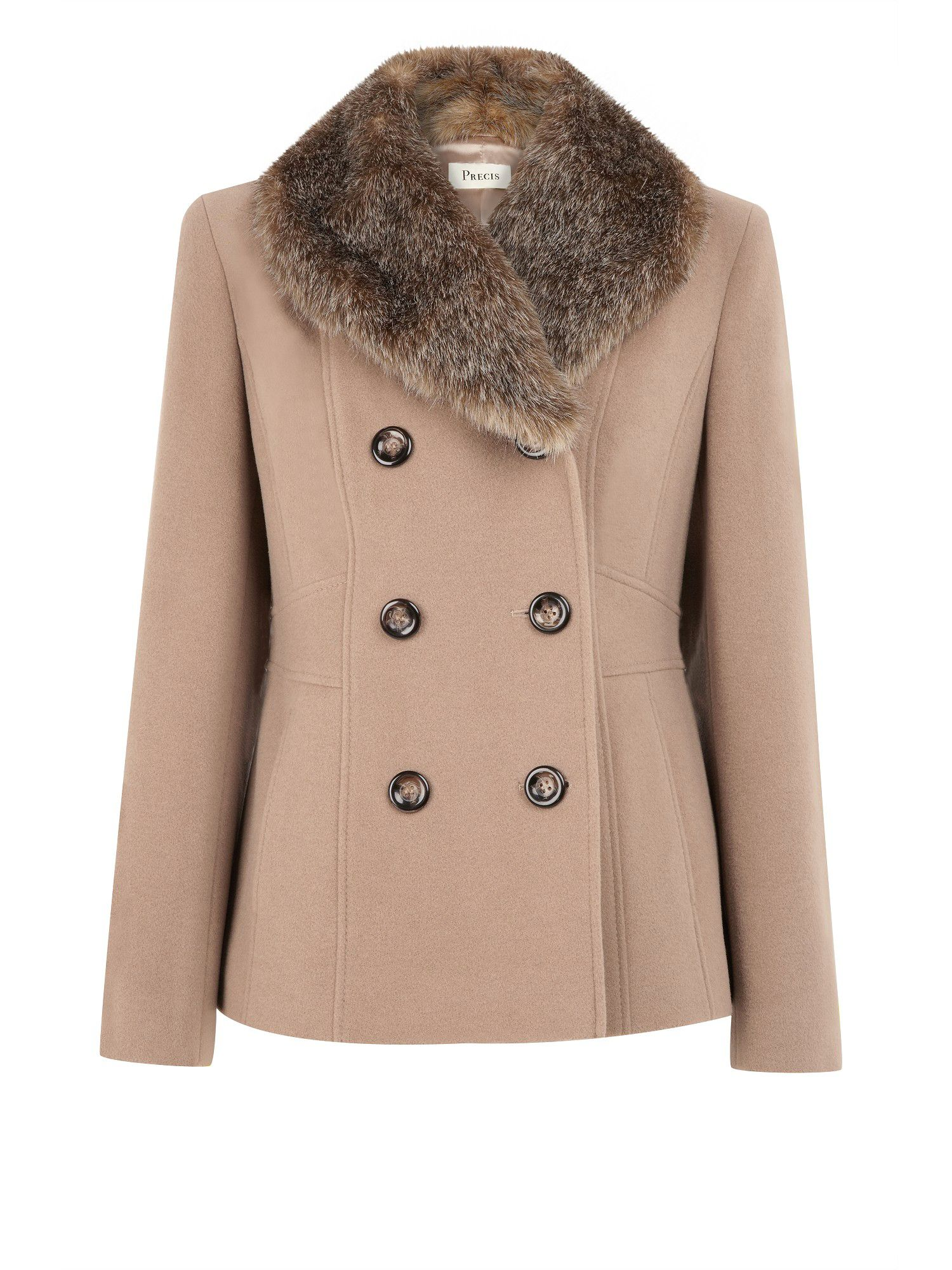 Pea coat with Removable Faux Fur Collar