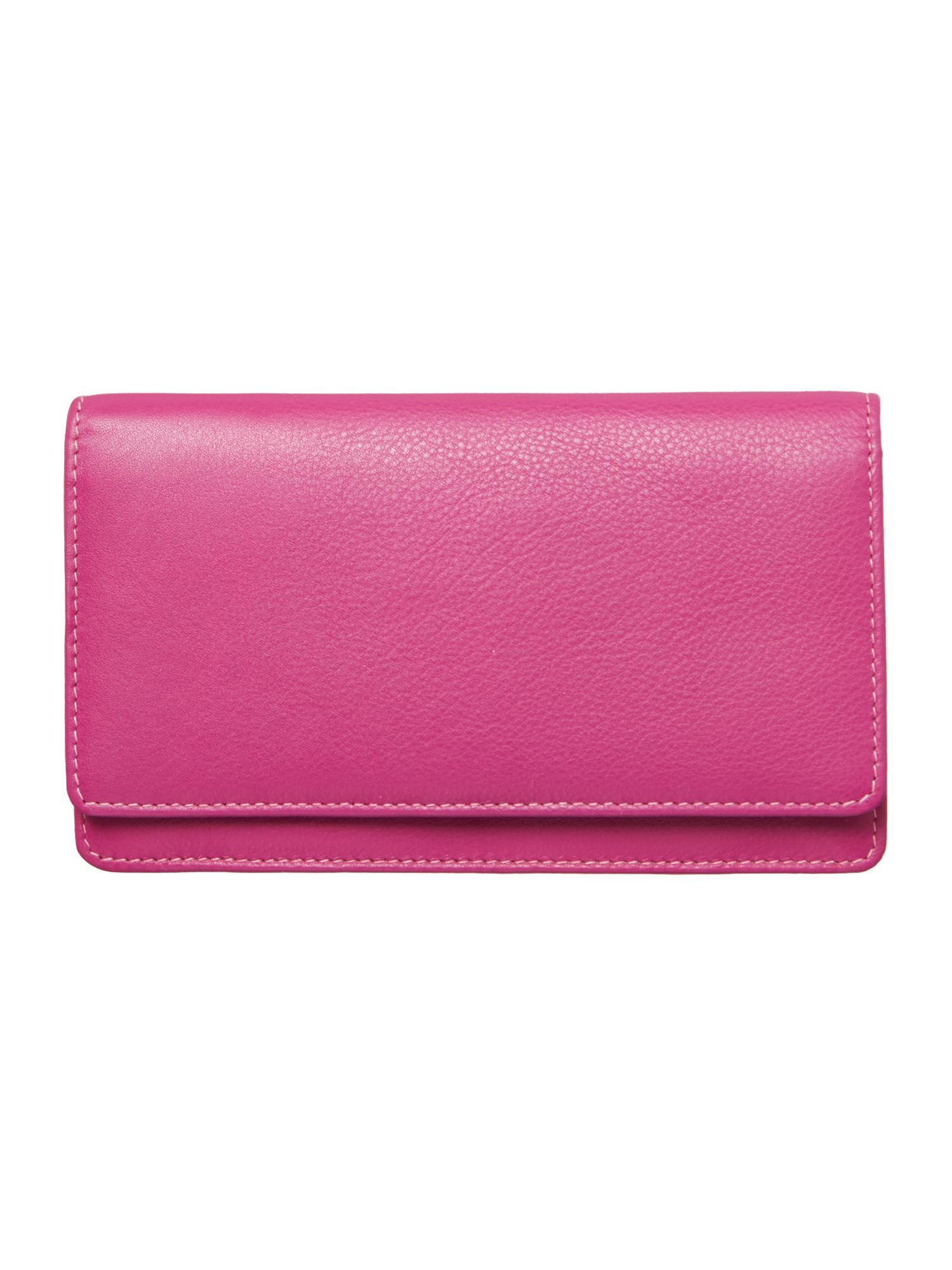 Pink with spot internal large flapover purse