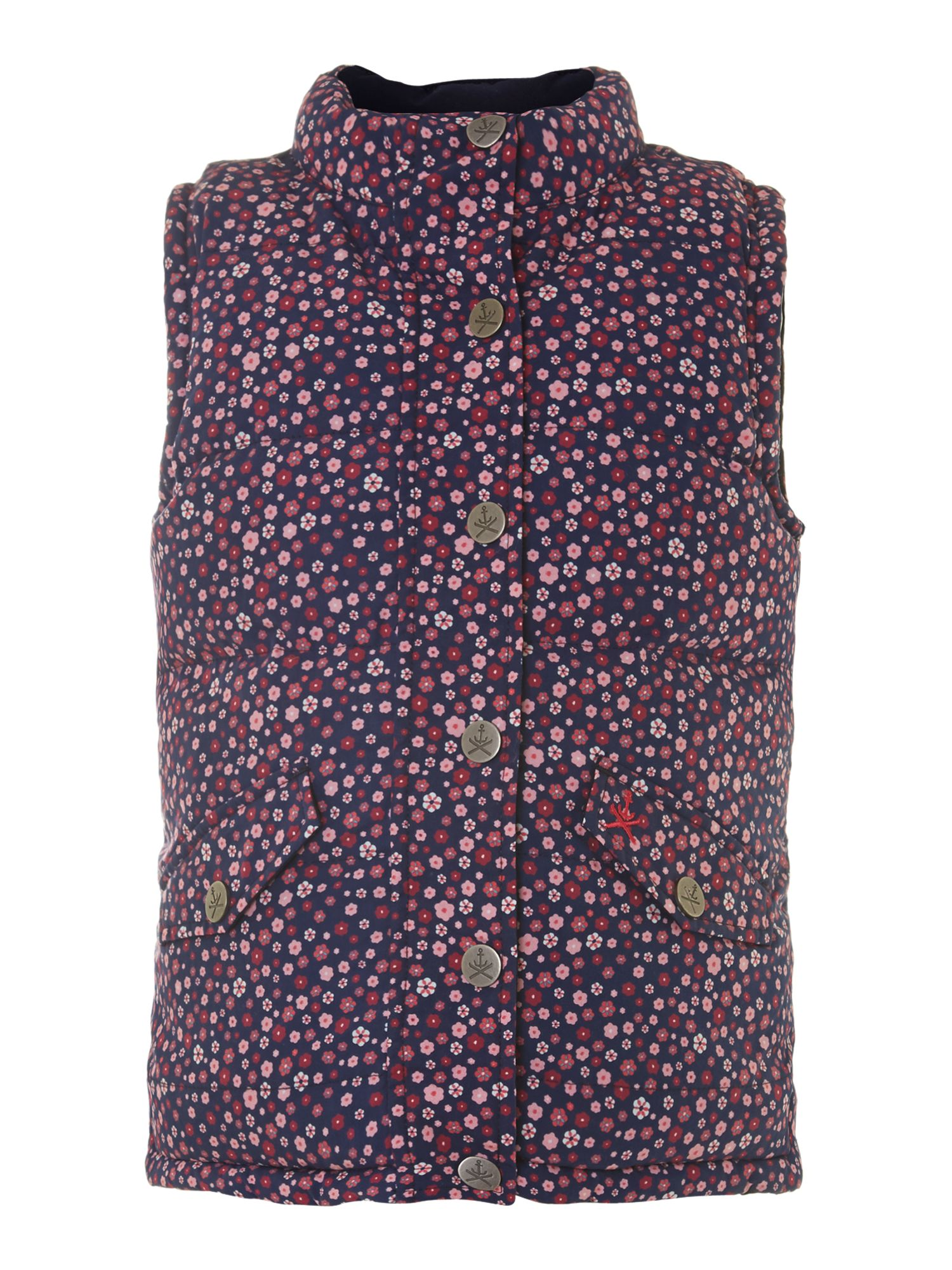Girl`s flower reversible gilet