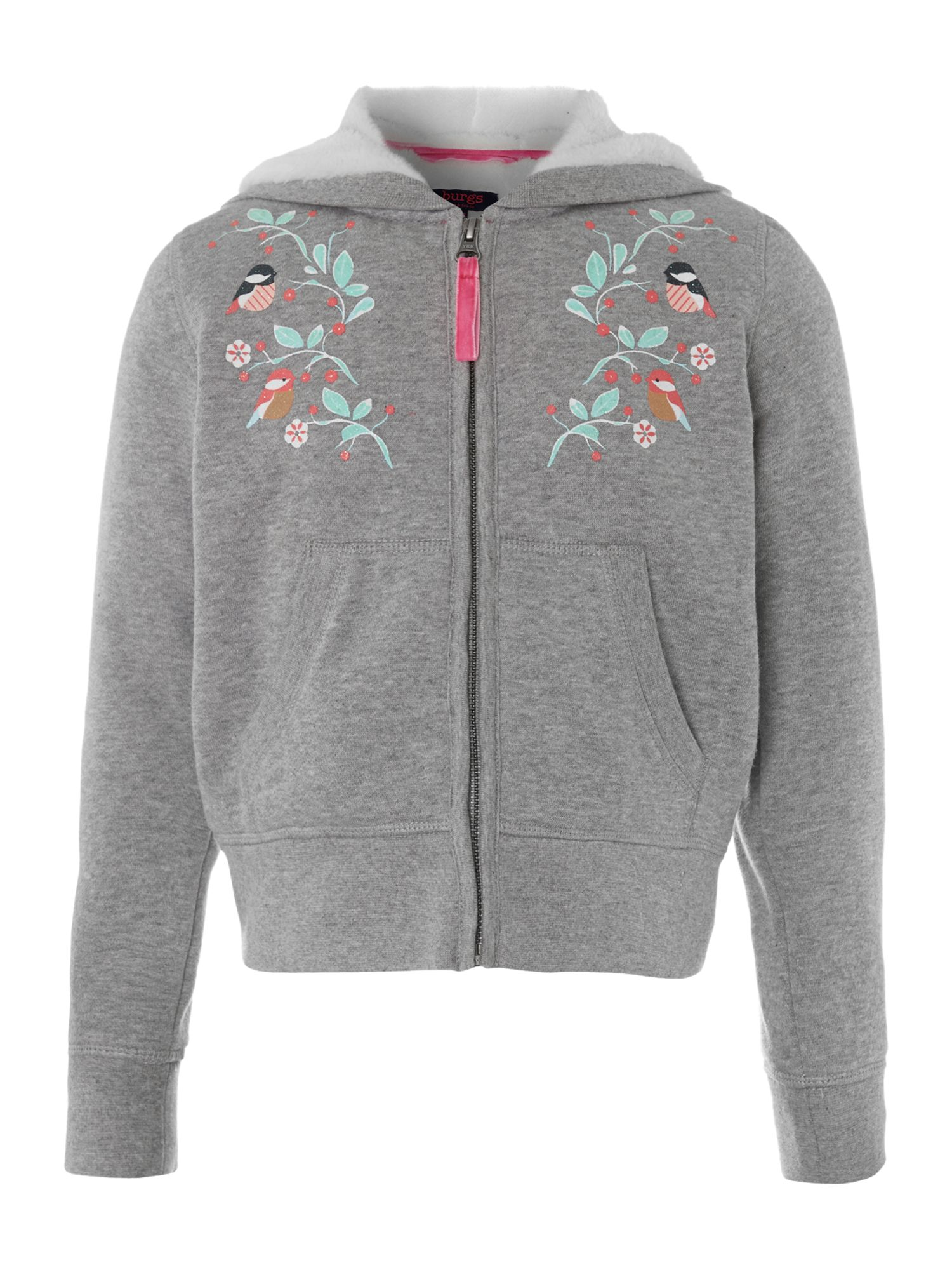 Girl`s flower zip through hoody