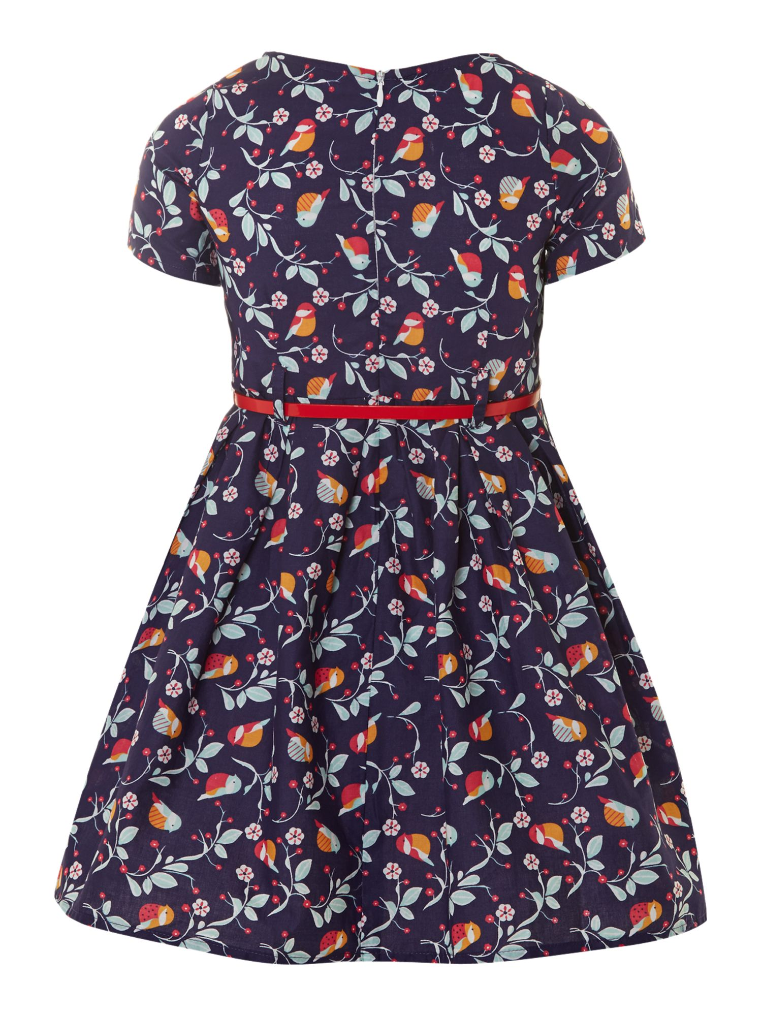 Girl`s bird and flower print dress