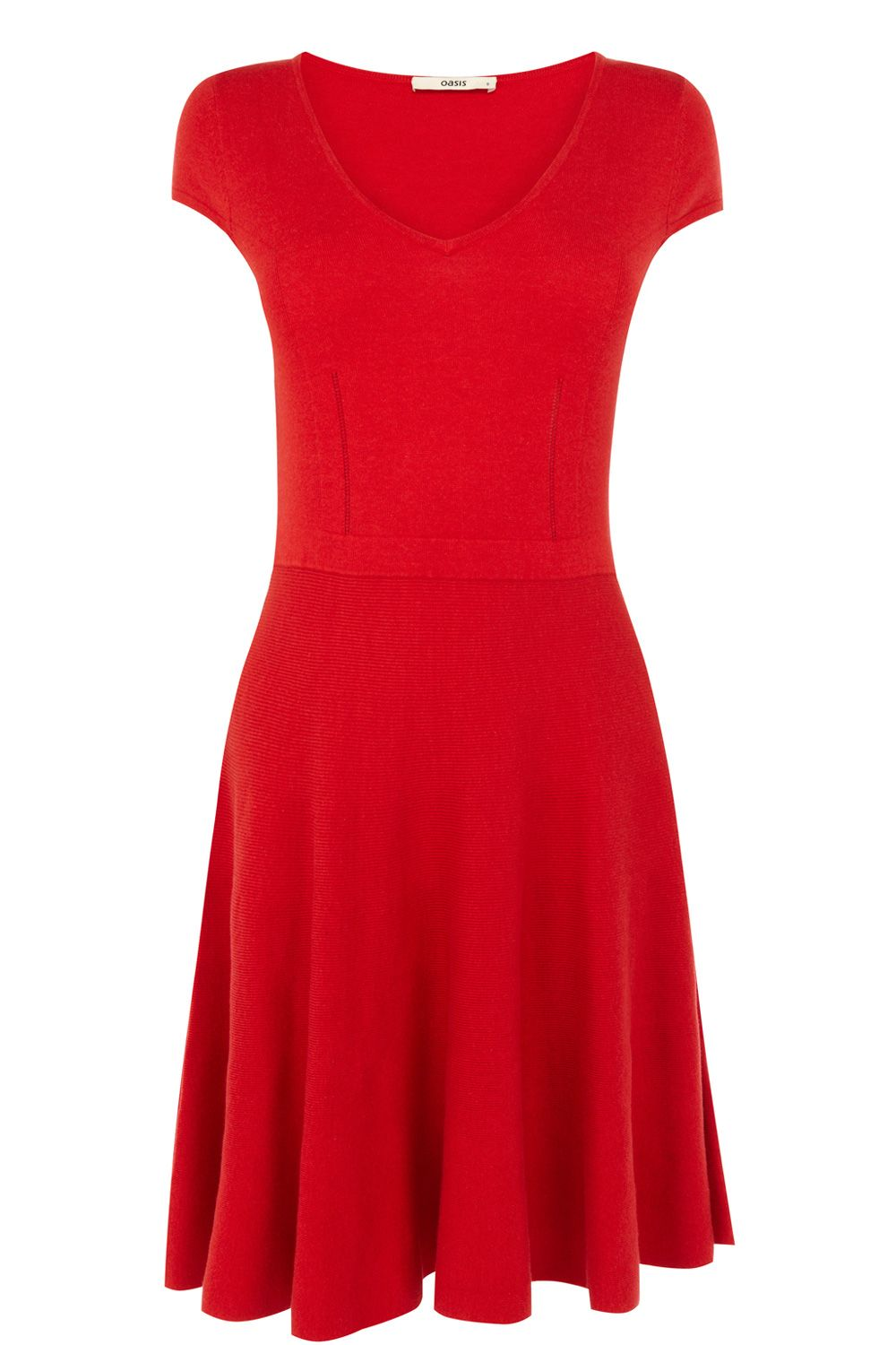 Fit and flare v neck dress
