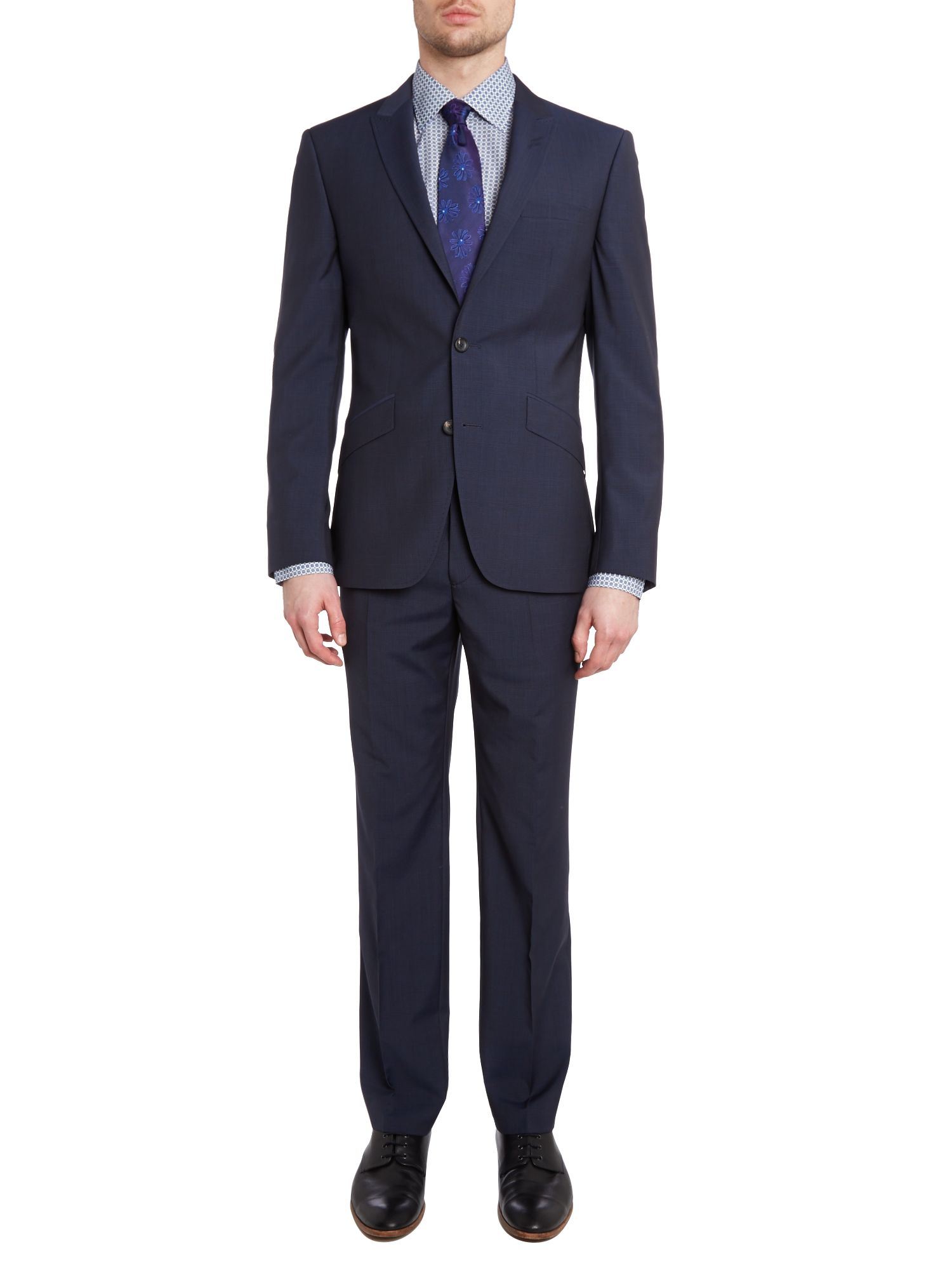 Subtle check peak lapel slim fit suit
