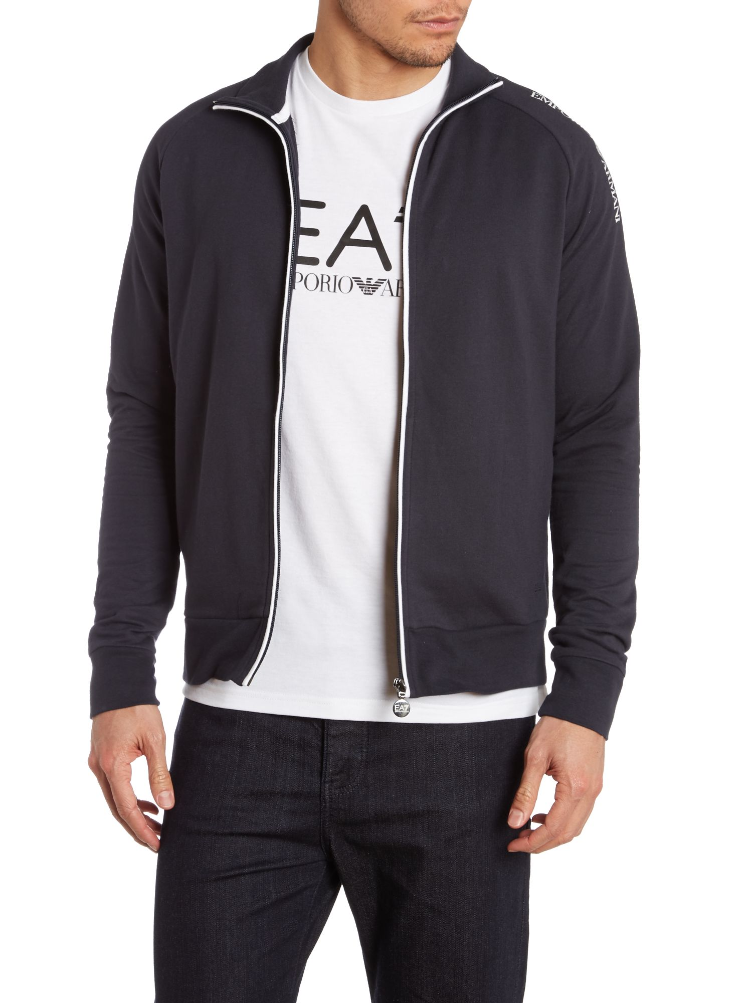 Zip through train big arm logo sweatshirt