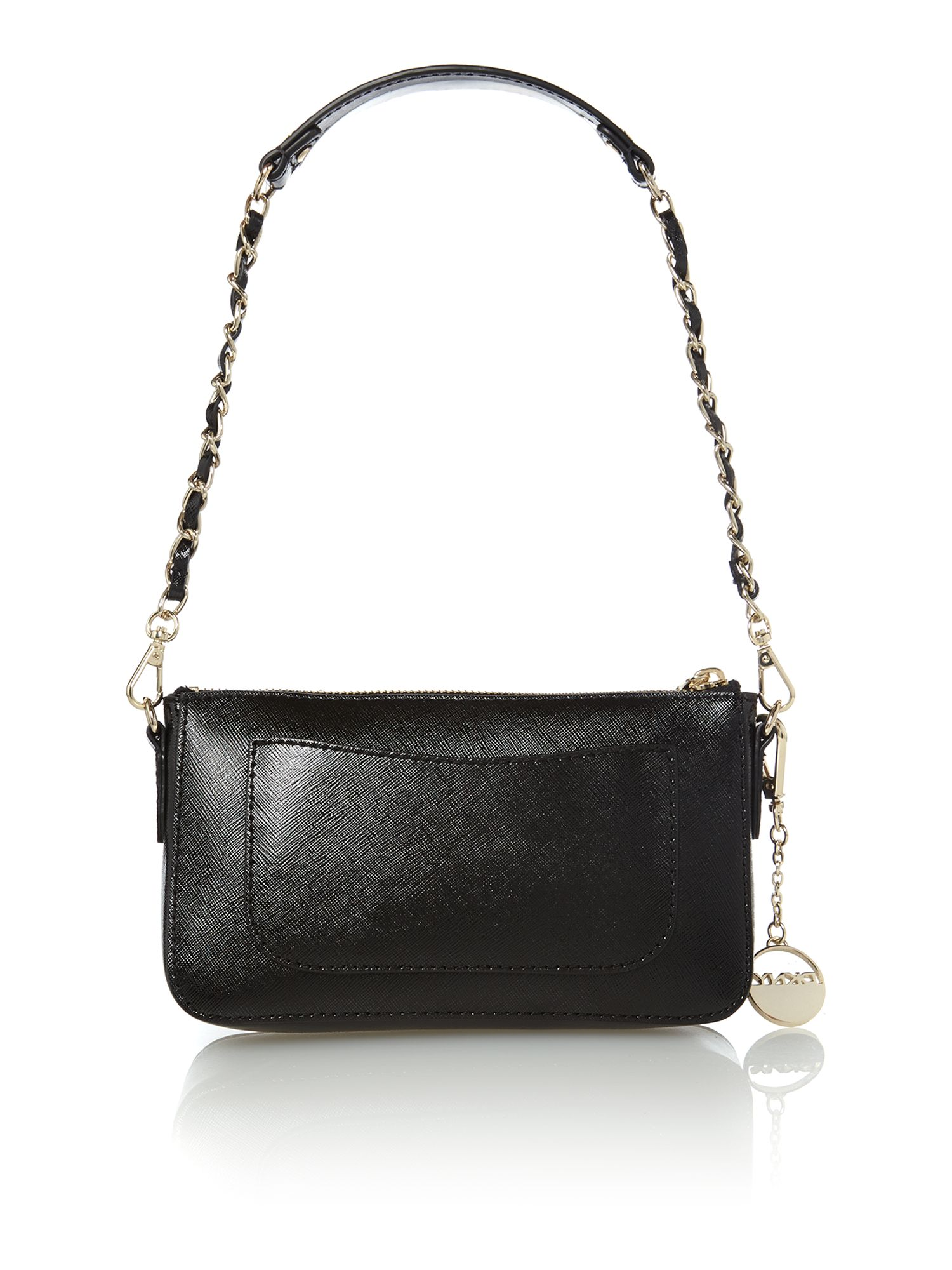 Saffiano items black stud shoulder bag