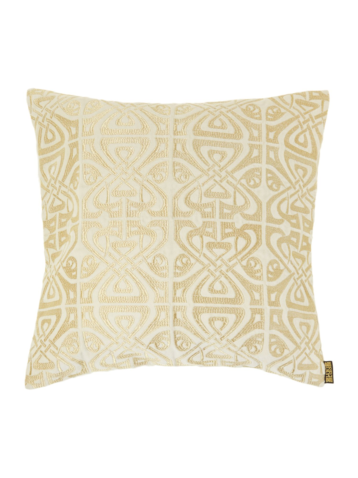 Cream velvet Biba logo cushion