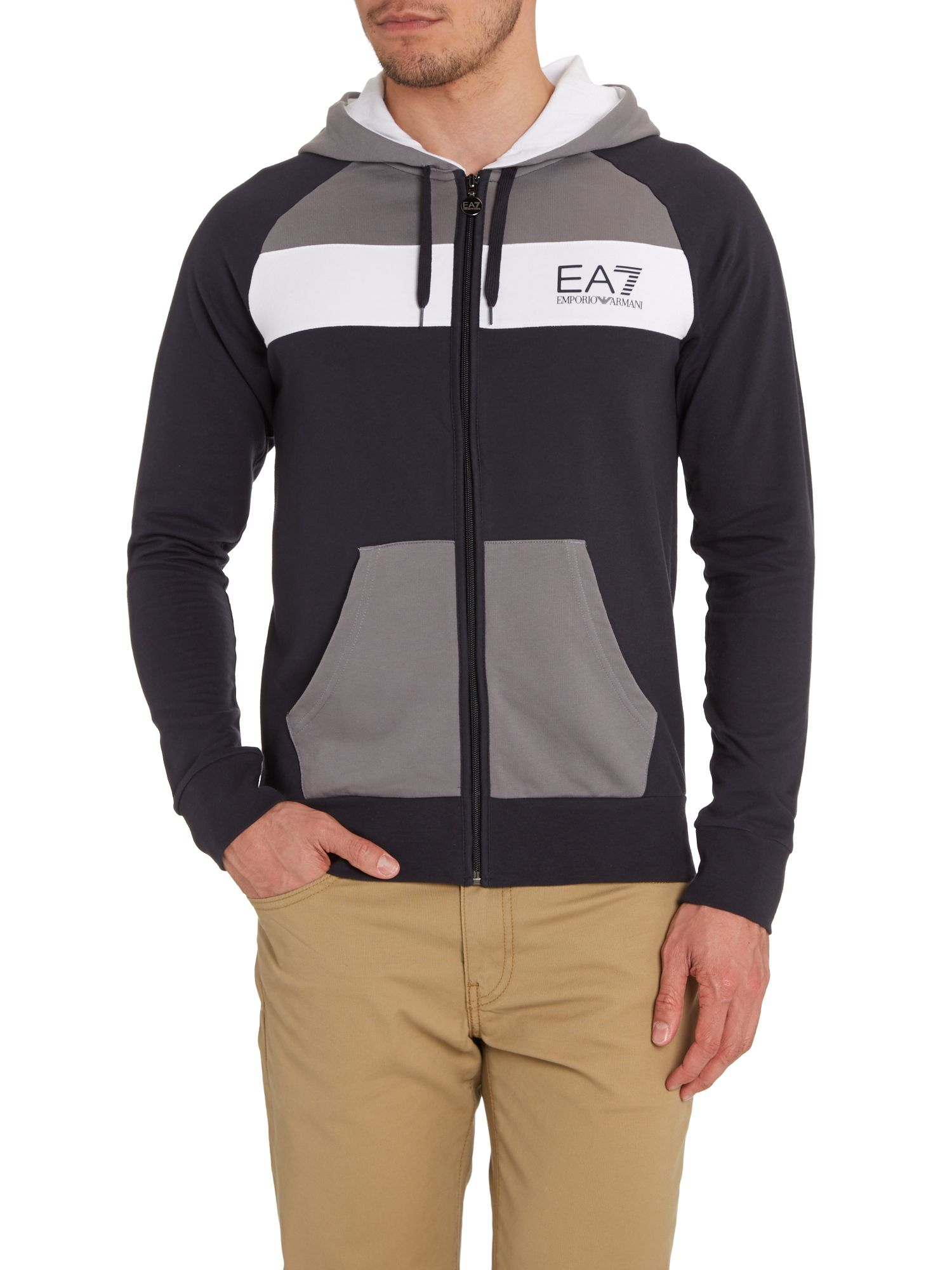 Zip through colour block hoody