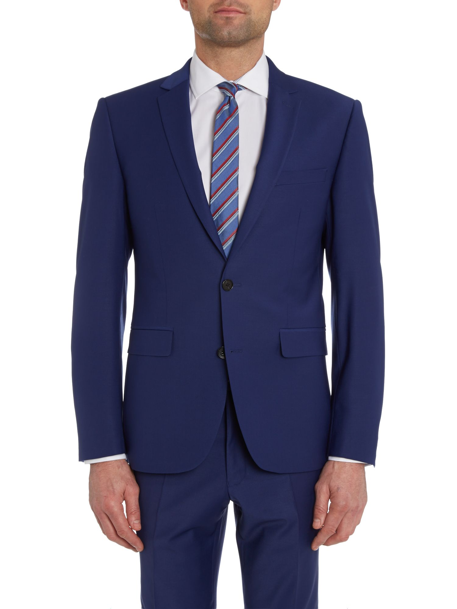 Solid slim fit suit jacket