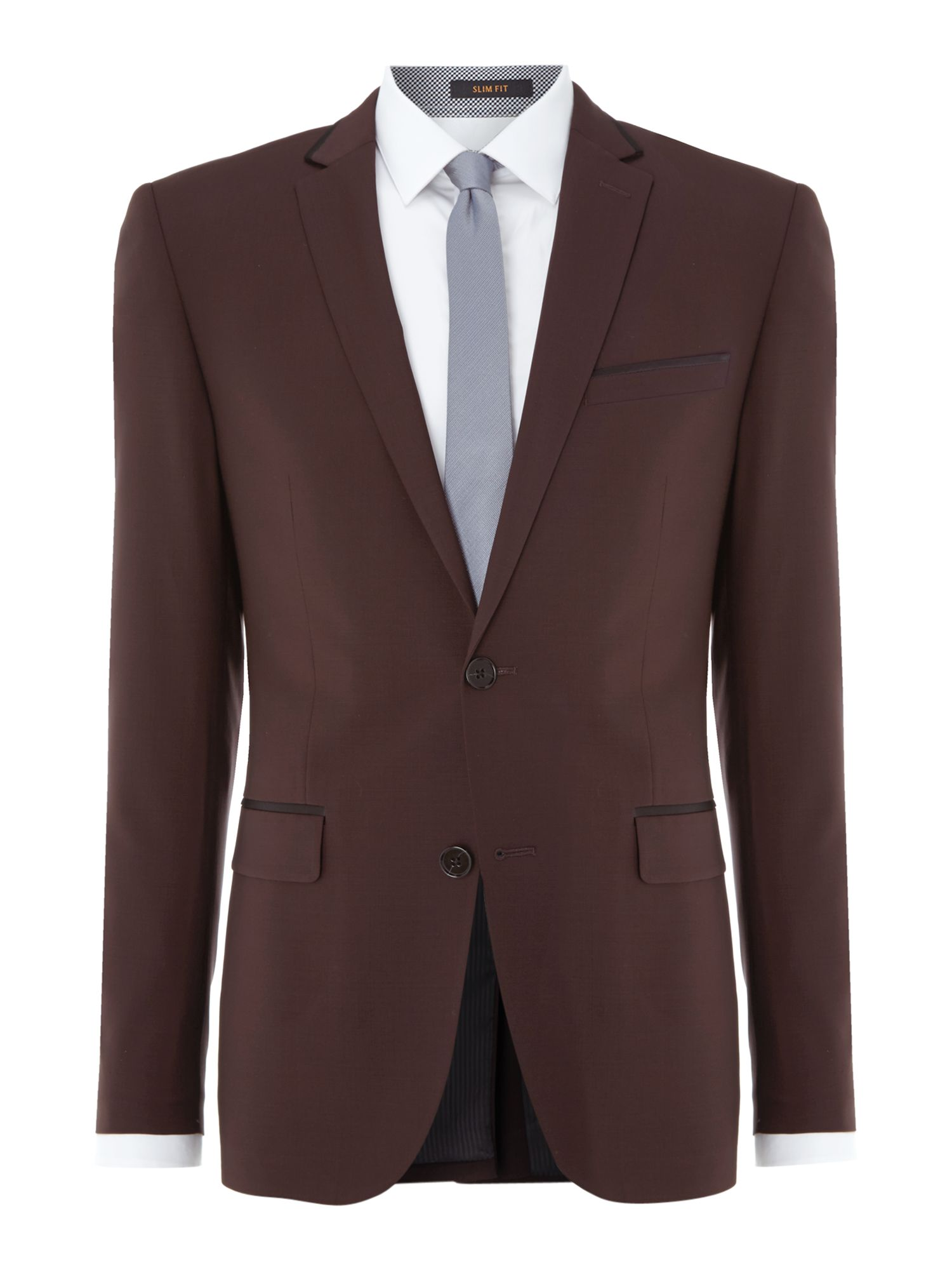 Satin trimmed slim fit suit jacket