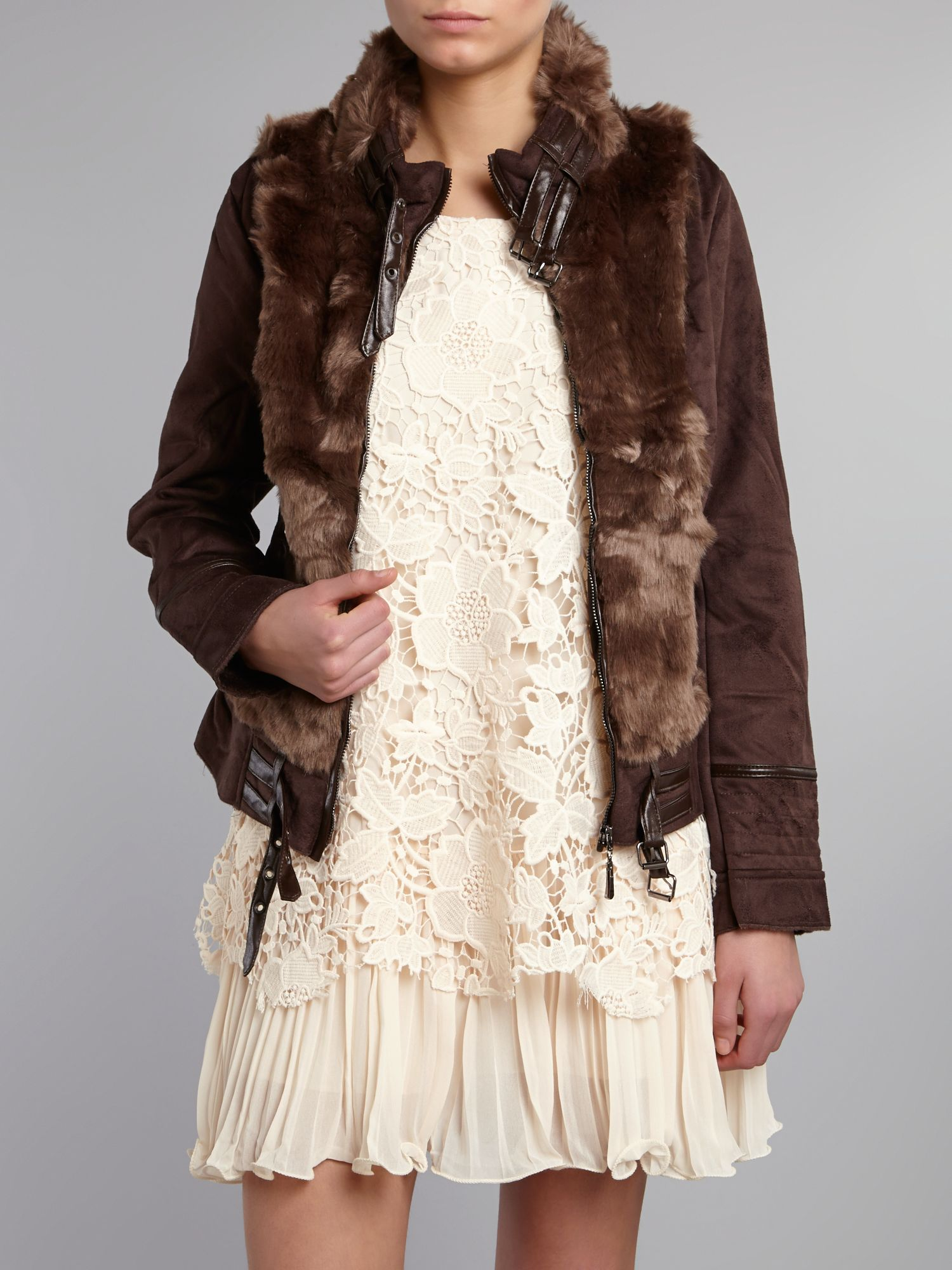Faux lambskin fur zip jacket
