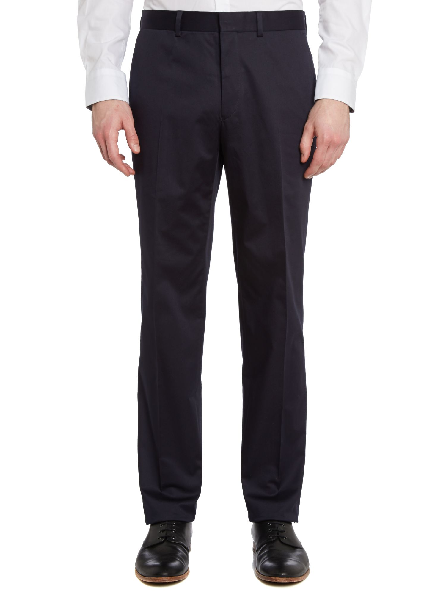 Solid slim fit suit trousers