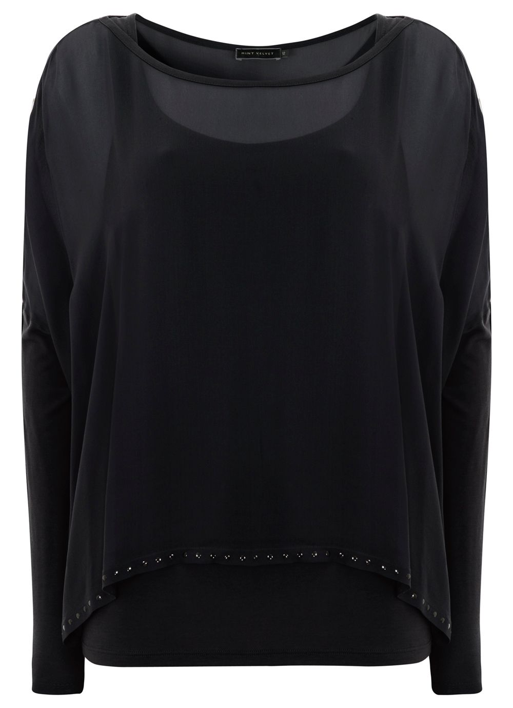 Black Double Layer Studded Top