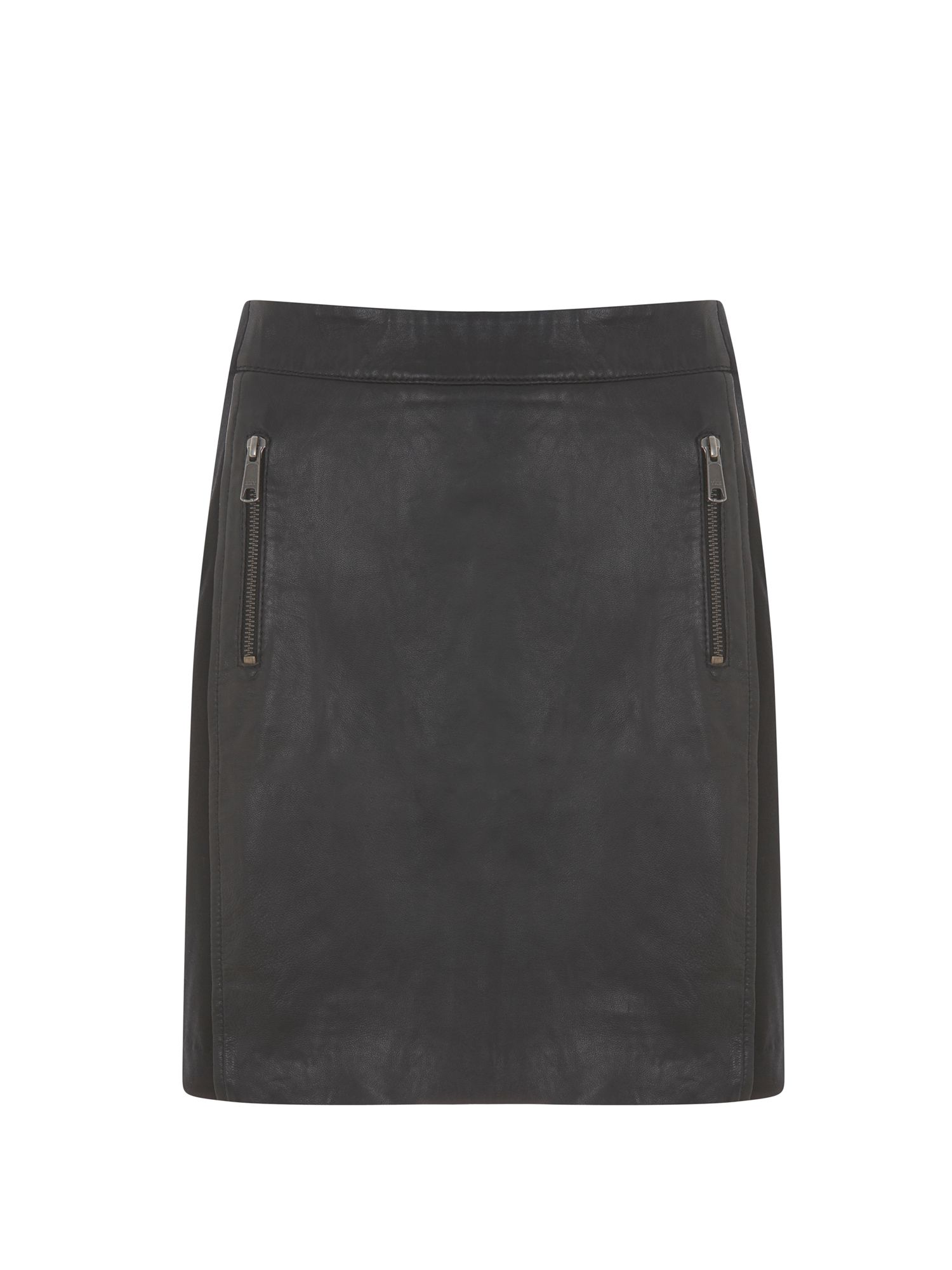 Black Leather & Jersey Skirt
