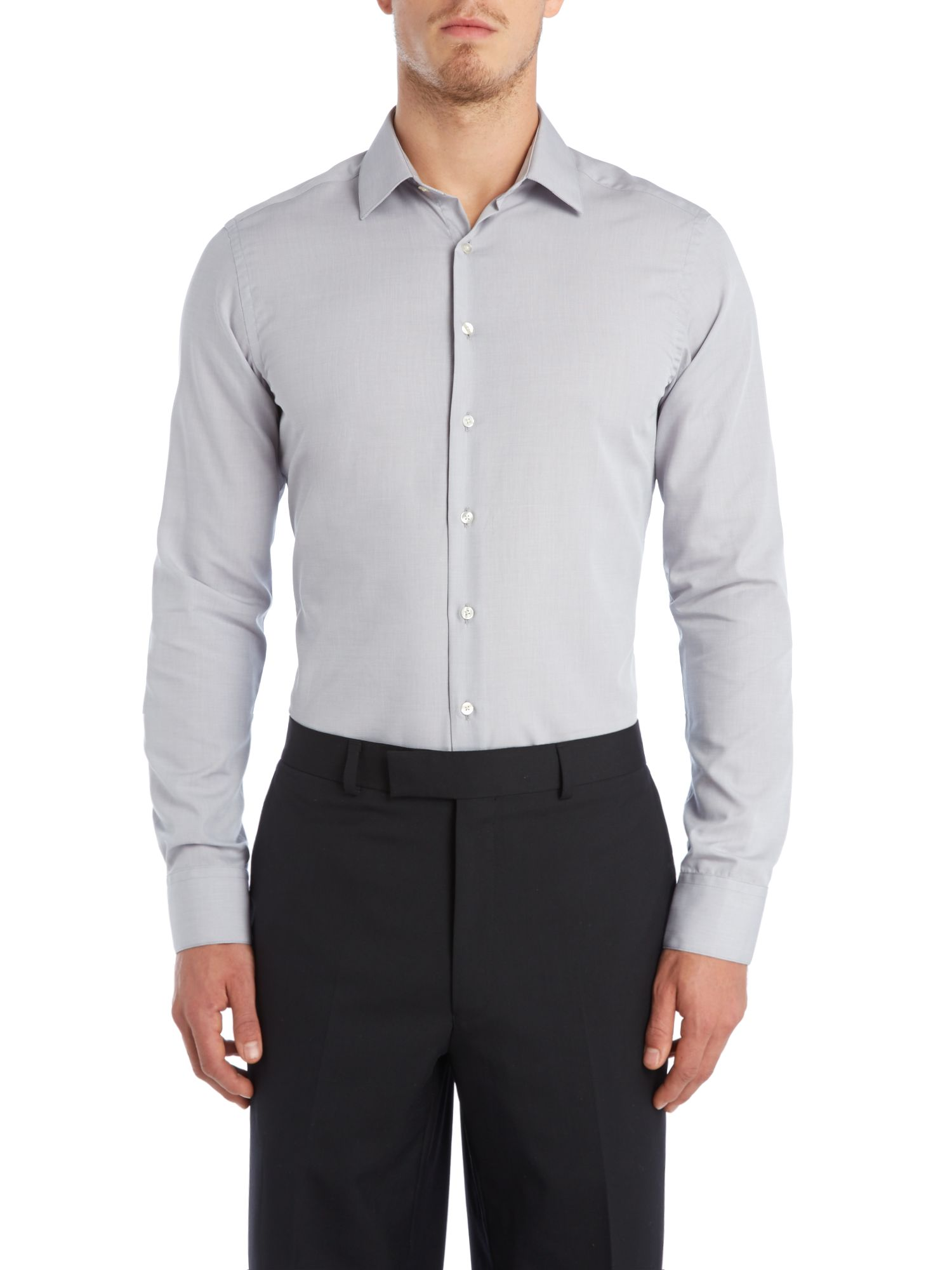 Solid end on end slim fit shirt