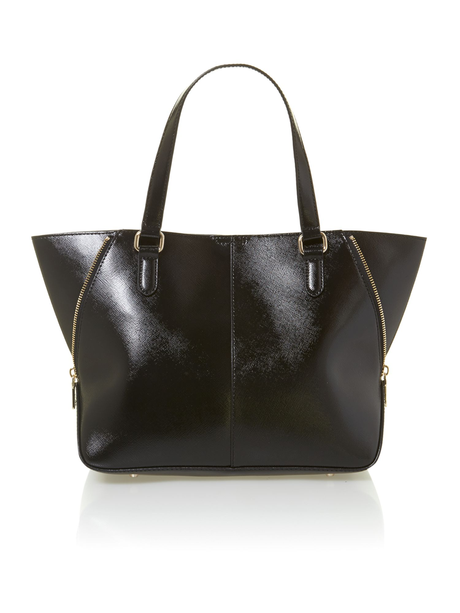Shiny saffiano black stud tote bag