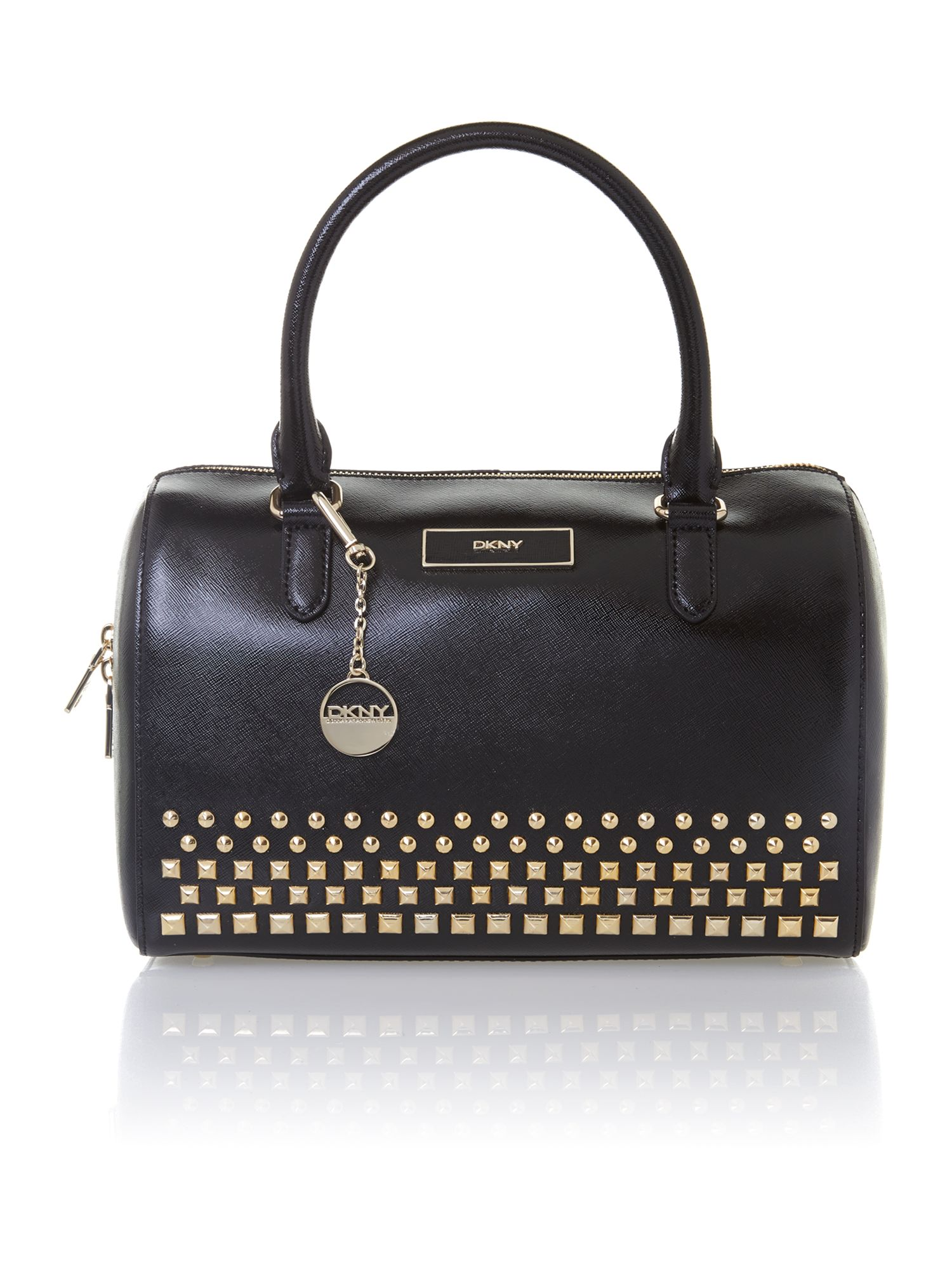 Shiny saffiano black studded bowling bag