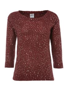Shine sequinned boat neck top