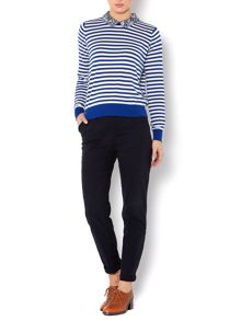 Stripe print collar jumper
