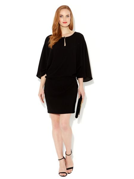 Biba Drape sleeve keyhole detail dress