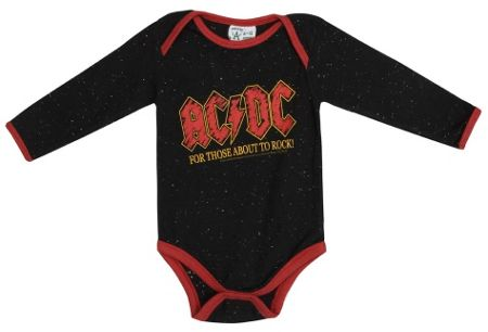 Amplified Kids Babies AC/DC About To Rock Speckle Babygrow