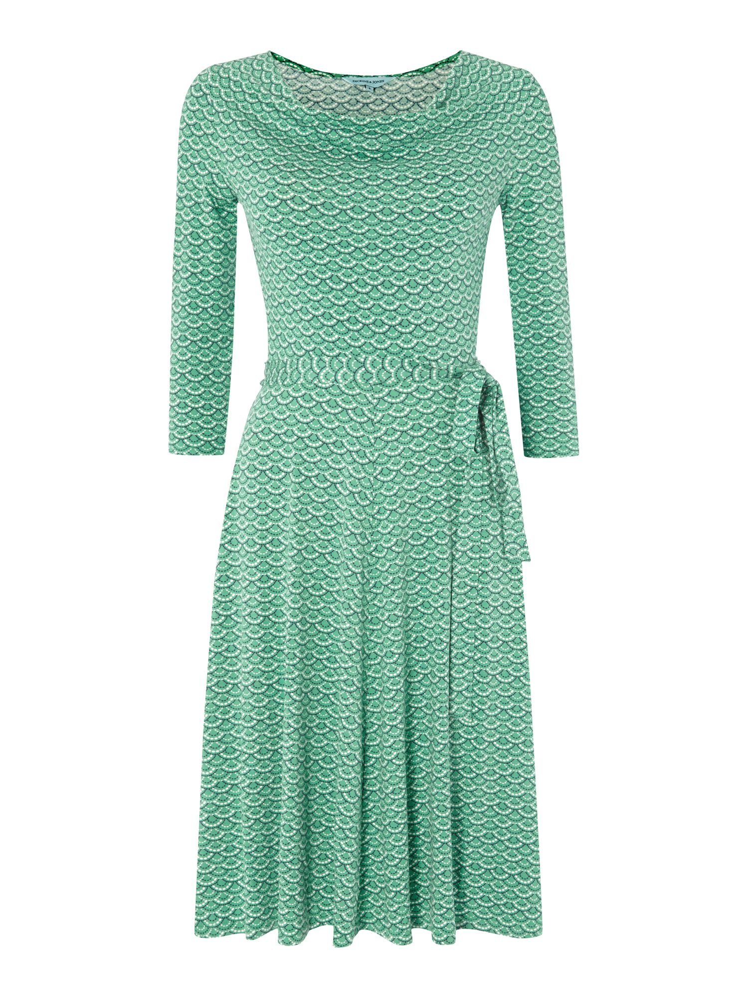 Fan print cowl neck belted jersey dress