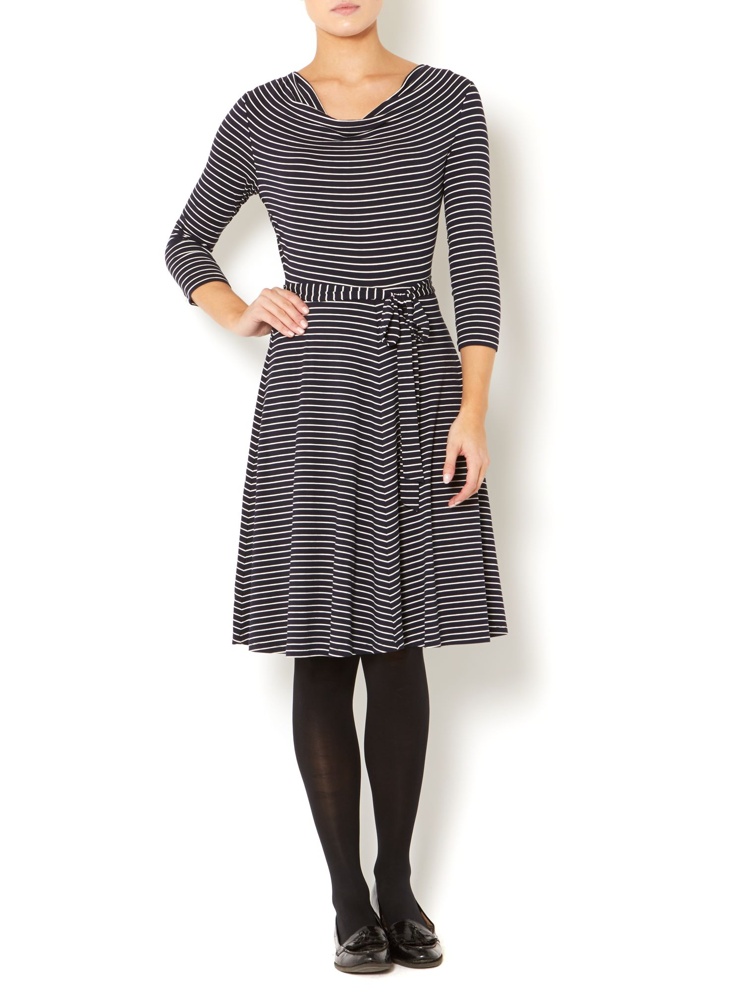 Stripe cowl neck jersey dress