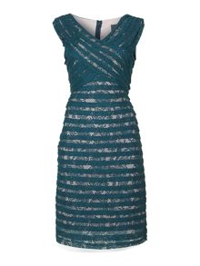 Crossover bodice banded sheath dress