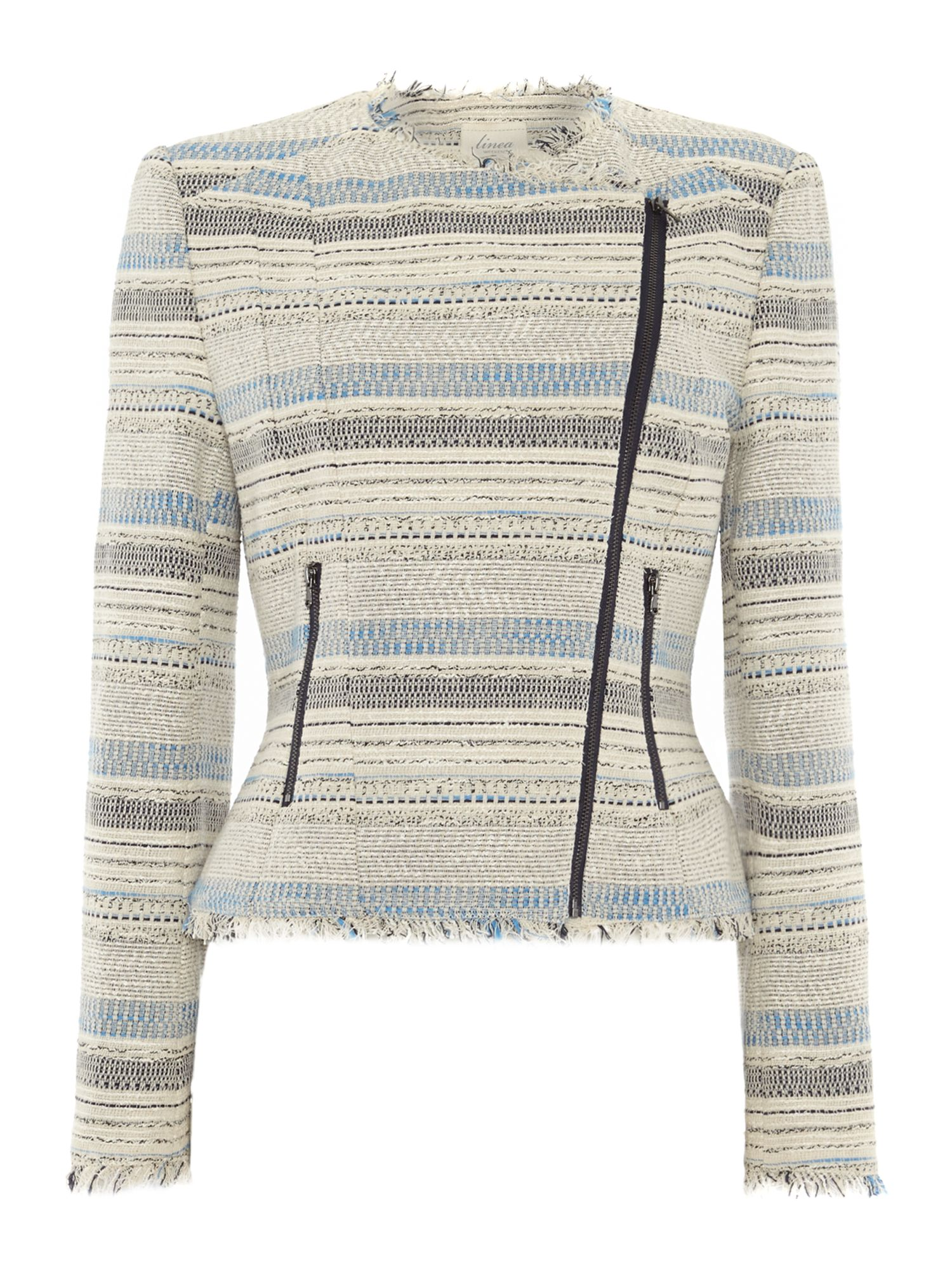 Stripe knitted biker jacket