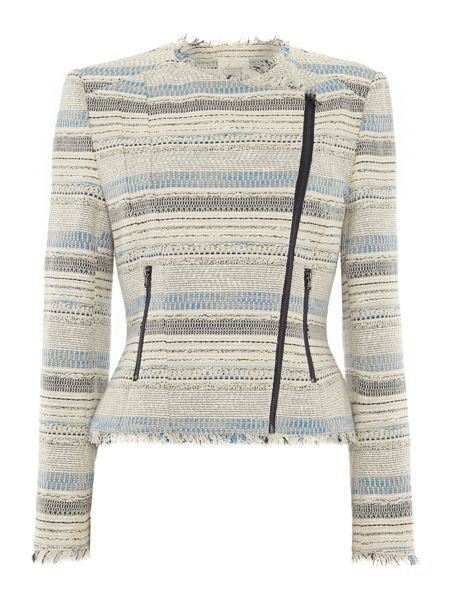 Linea Weekend Stripe knitted biker jacket