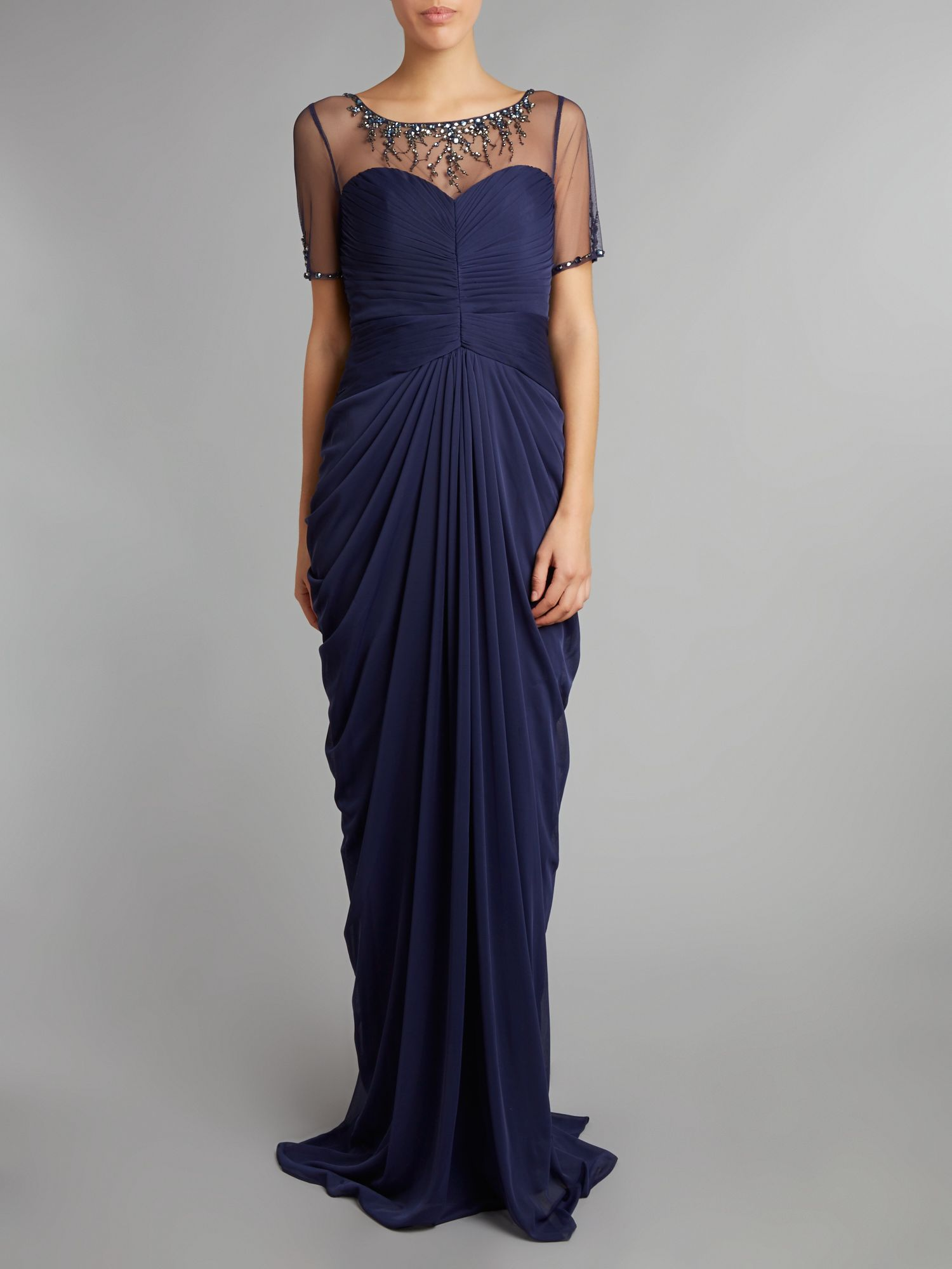 Necklace draped gown