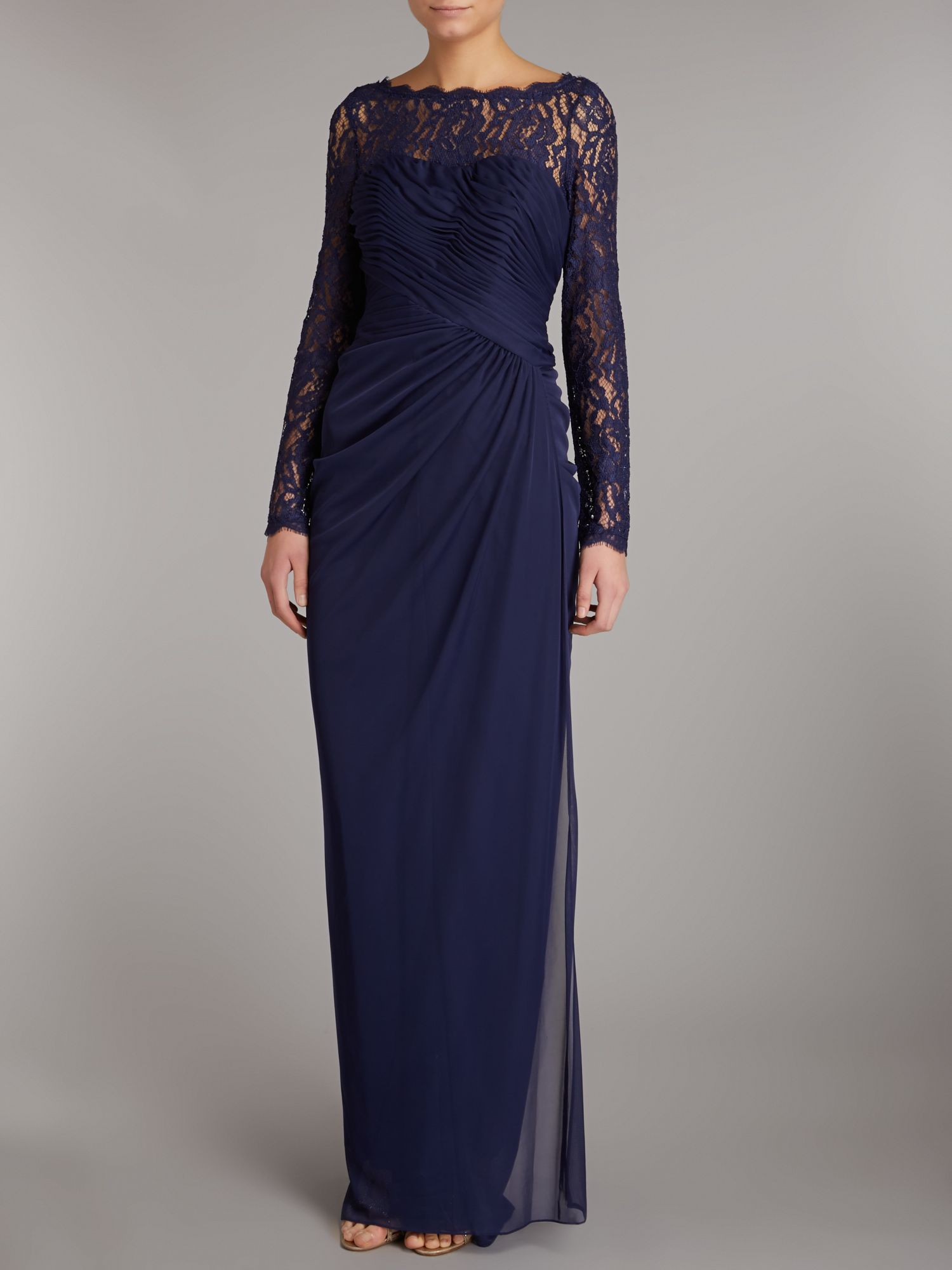 Draped Gown with Illusion Lace