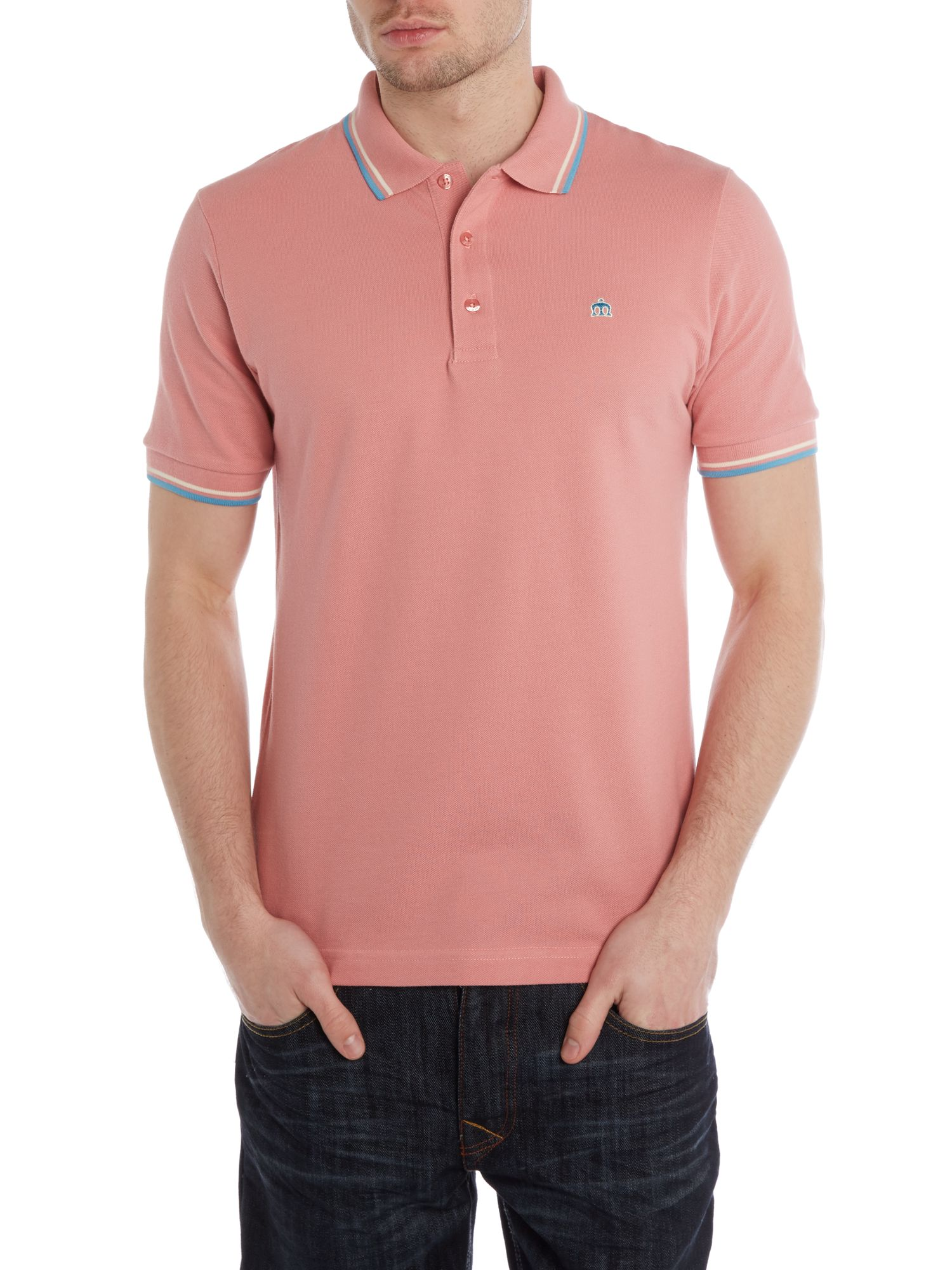 Short sleeve tipped logo polo