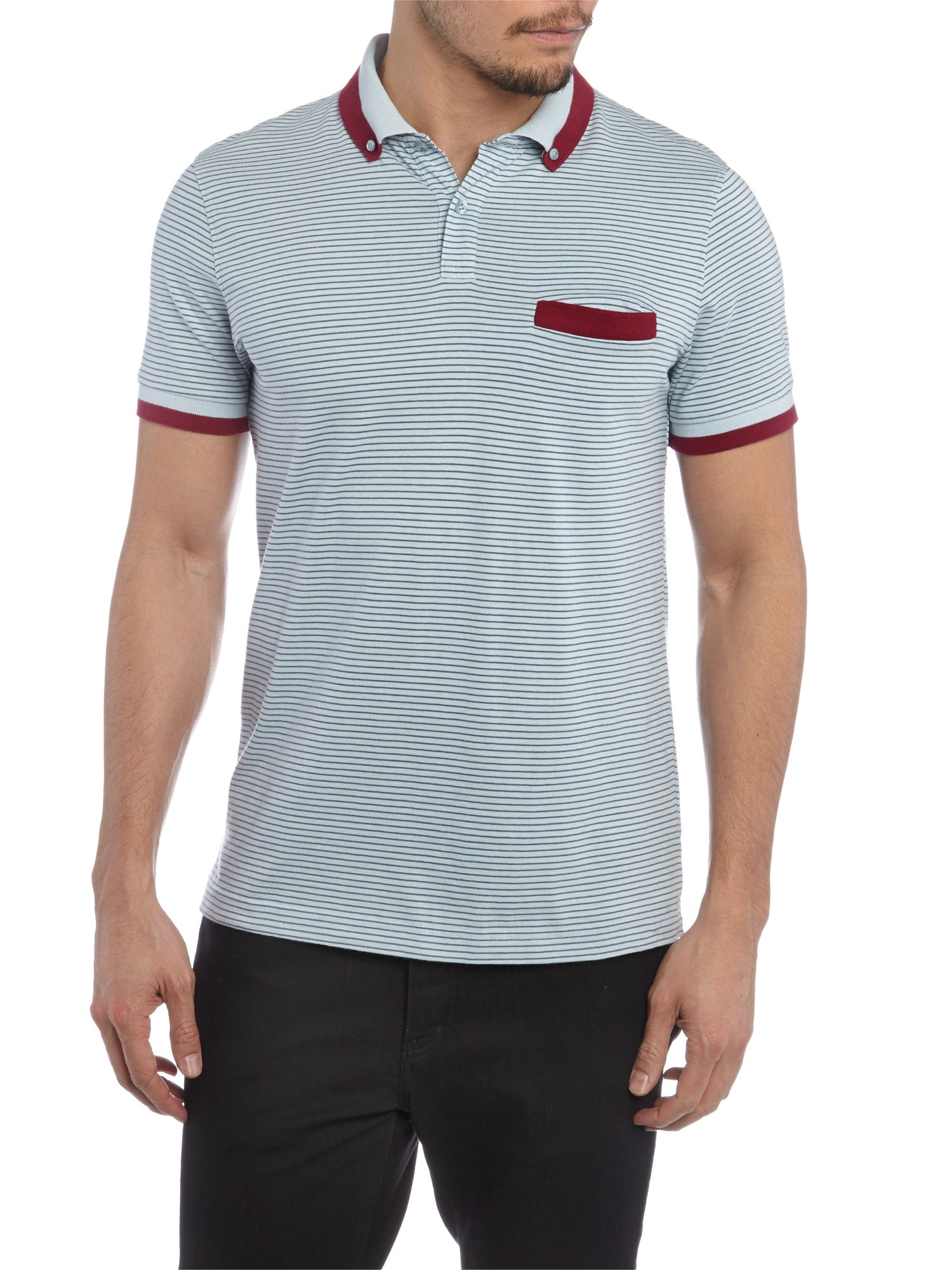 Slim fit yarn dye stripe polo