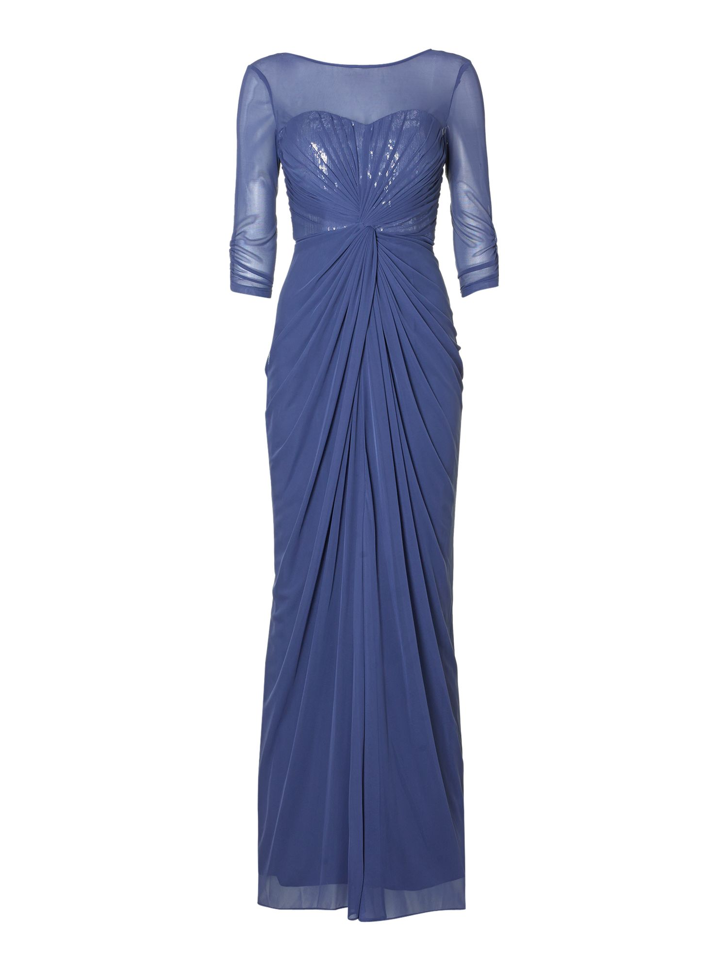 Veiled Knot Waist Sequin Gown