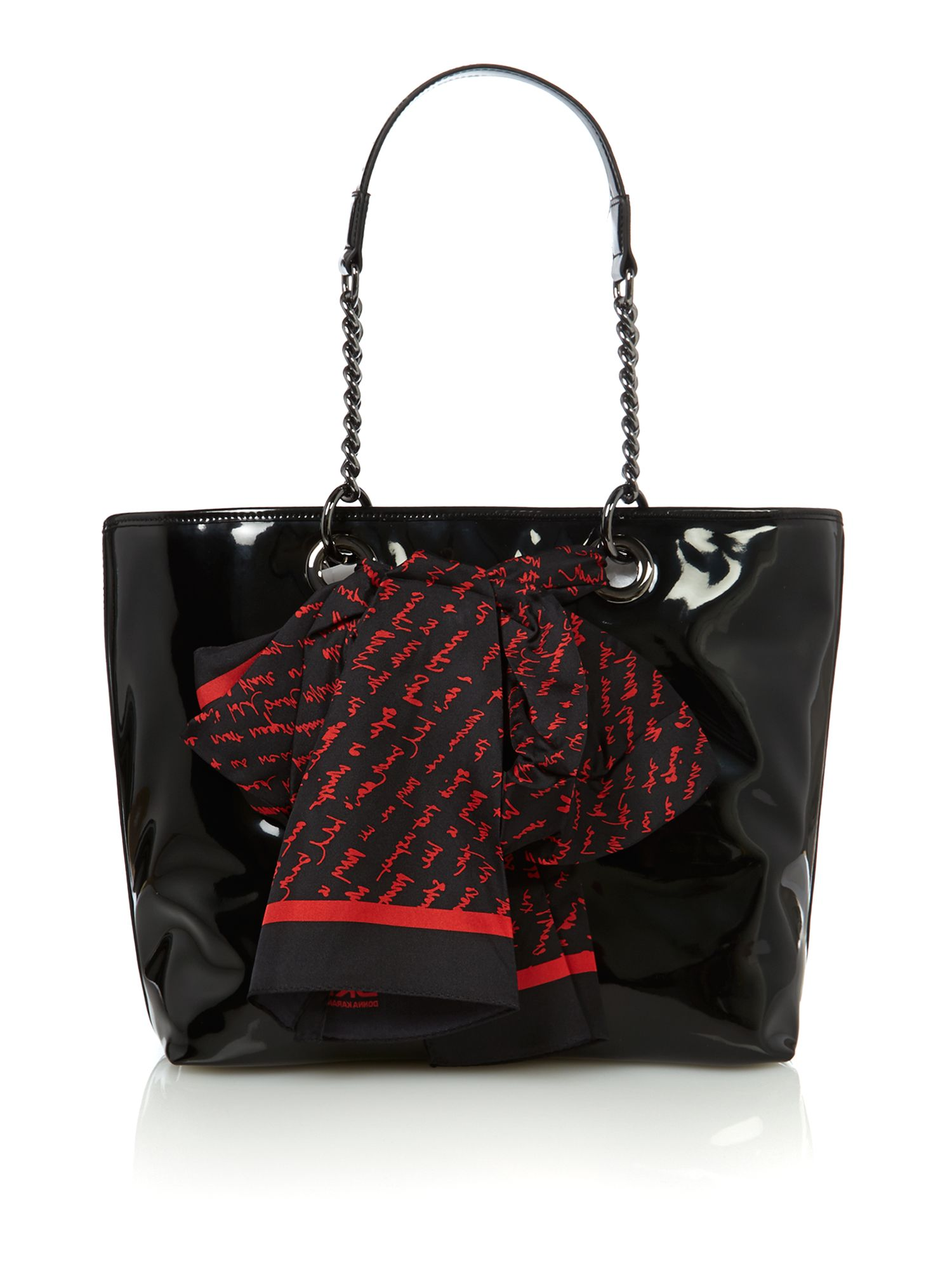 Black small patent scarf tote bag