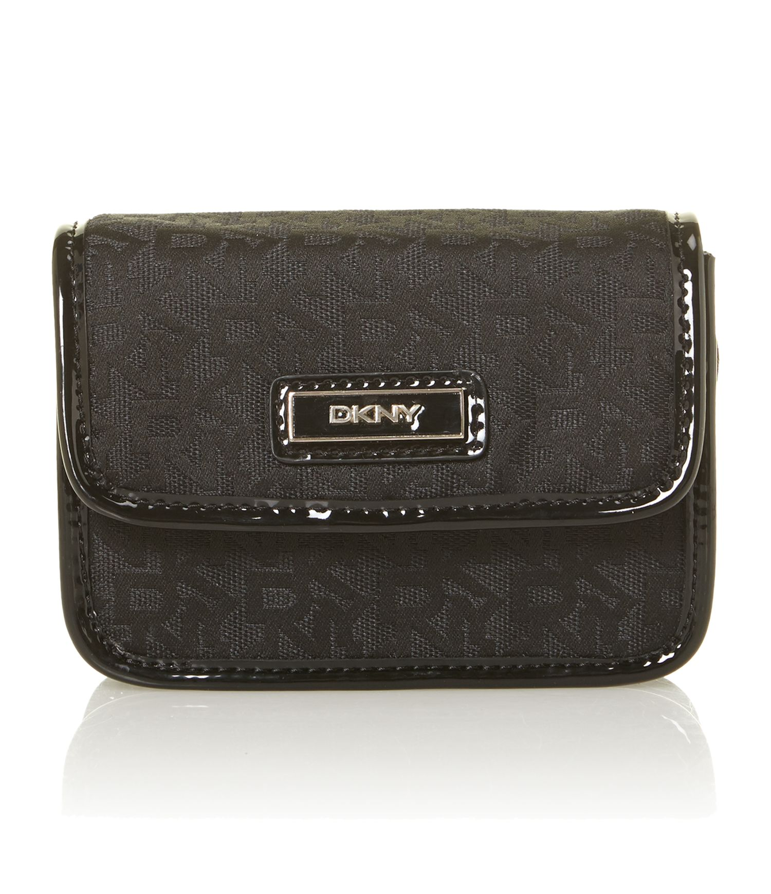 Black patent mini crossbody bag