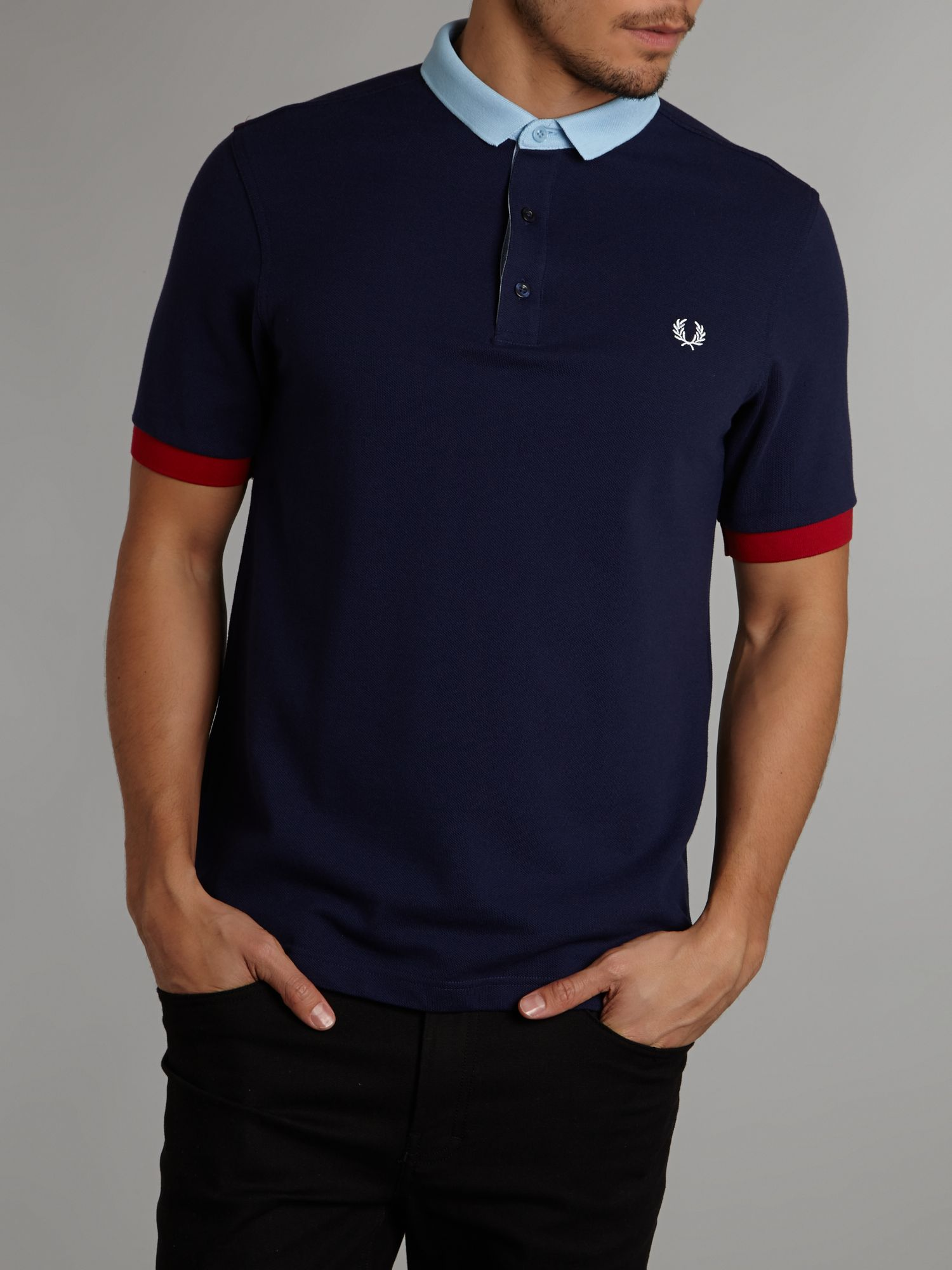 Block collar polo shirt