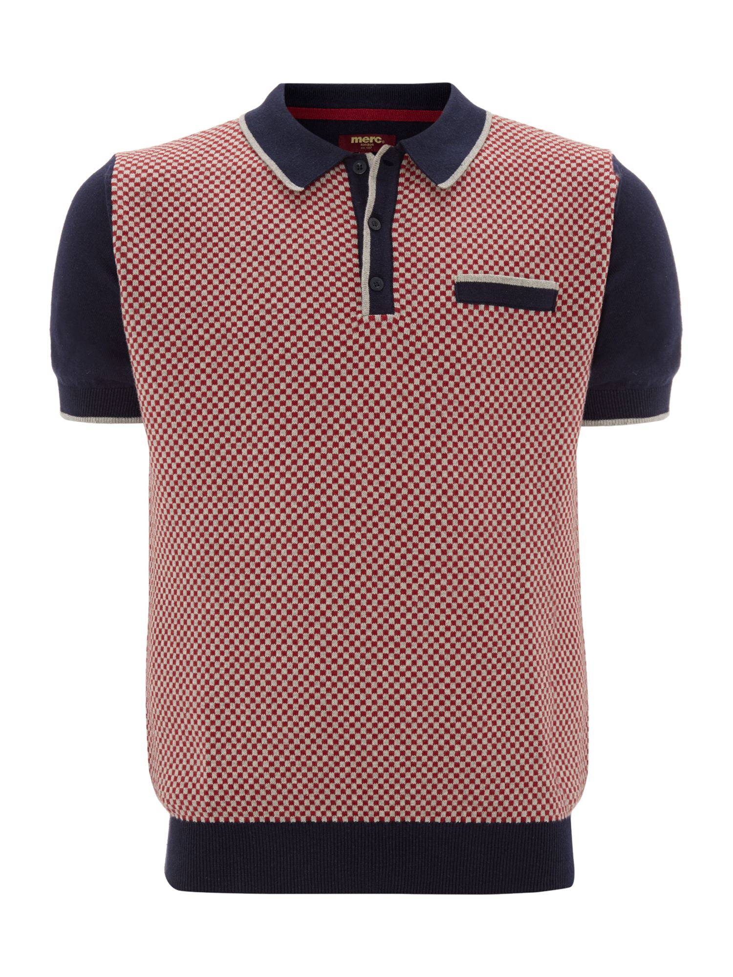 Check knitted polo