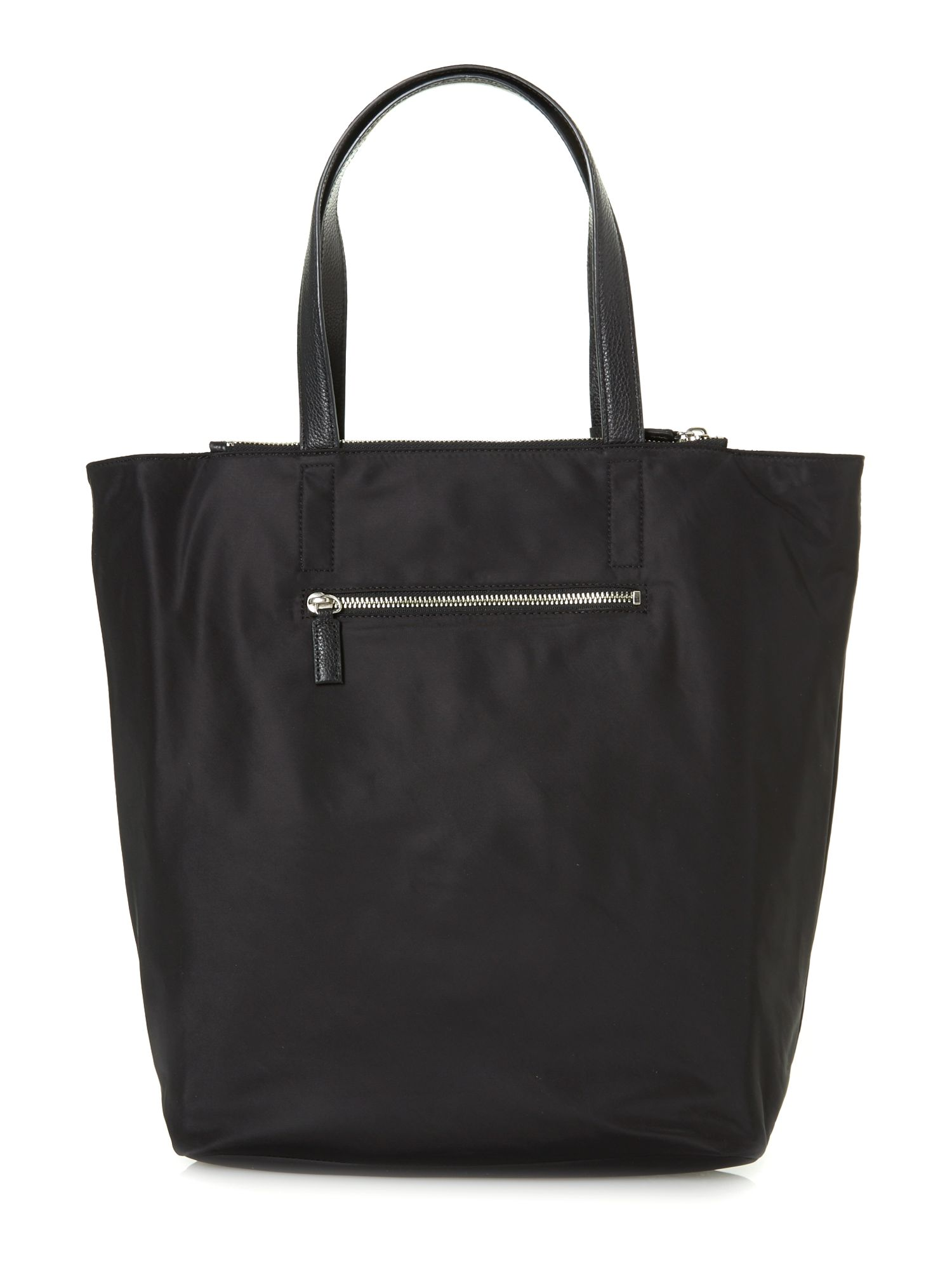 Nylon black large tassel tote bag