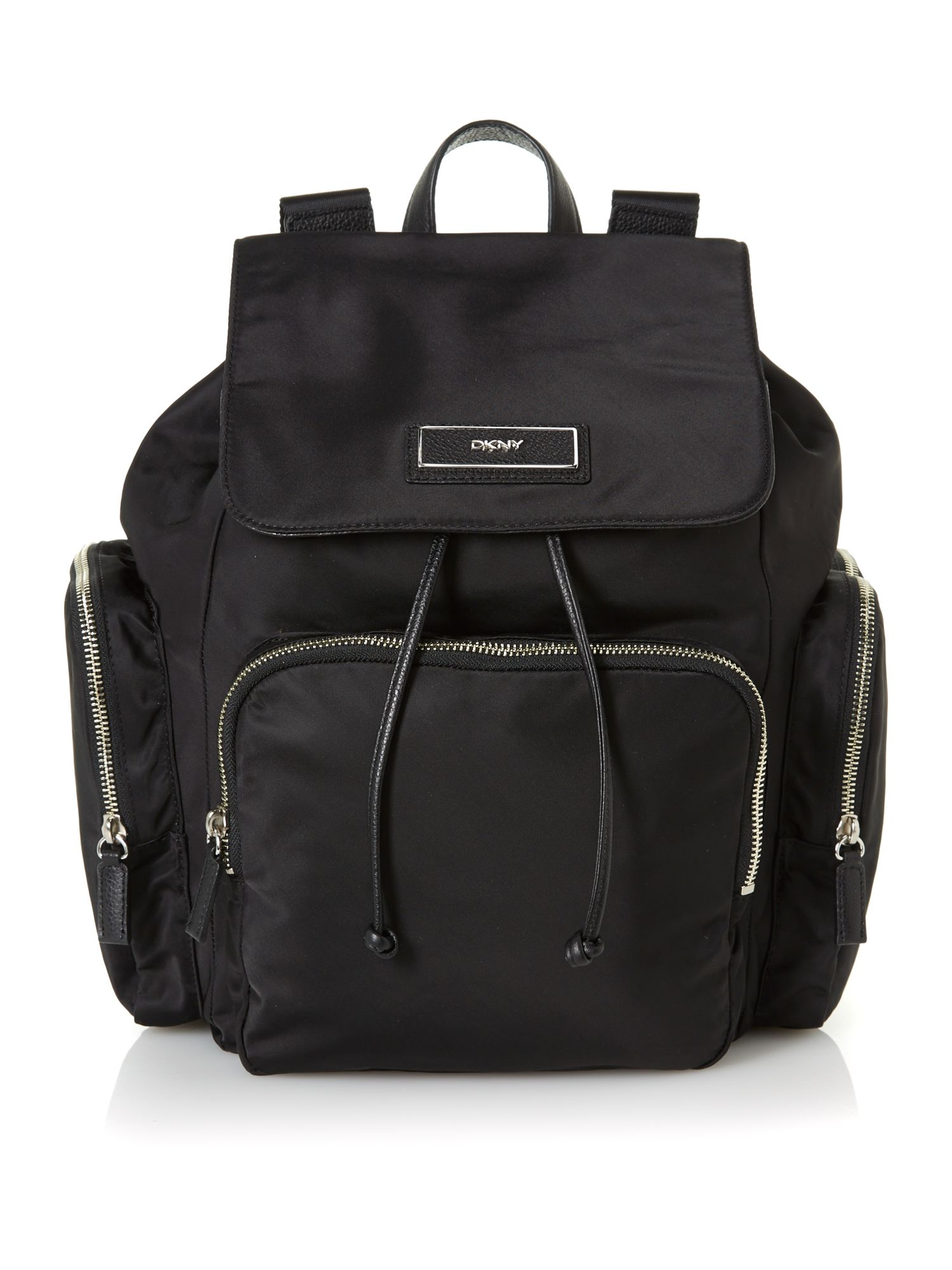 Nylon black tassel backpack