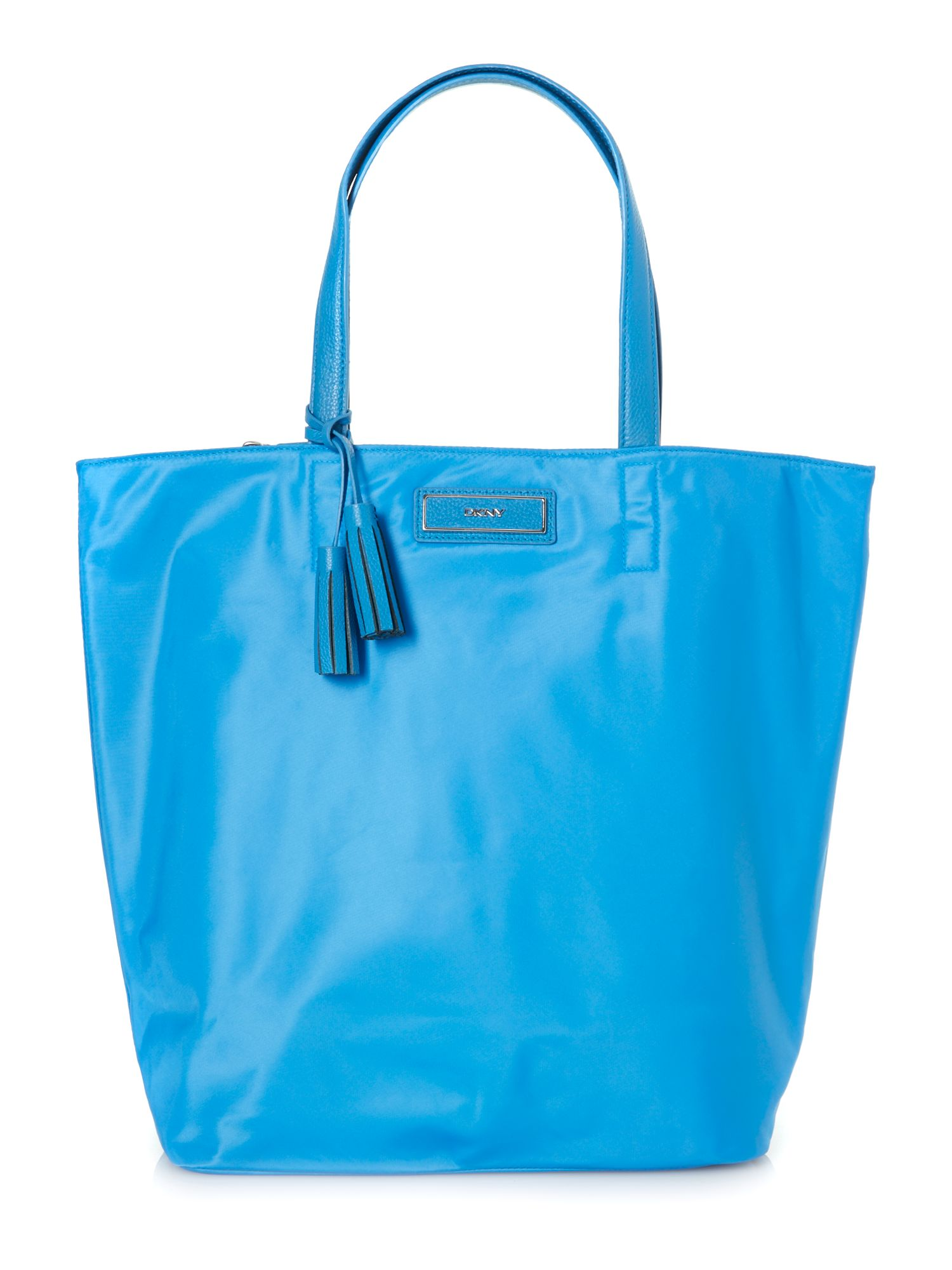 Nylon blue large tassel tote bag