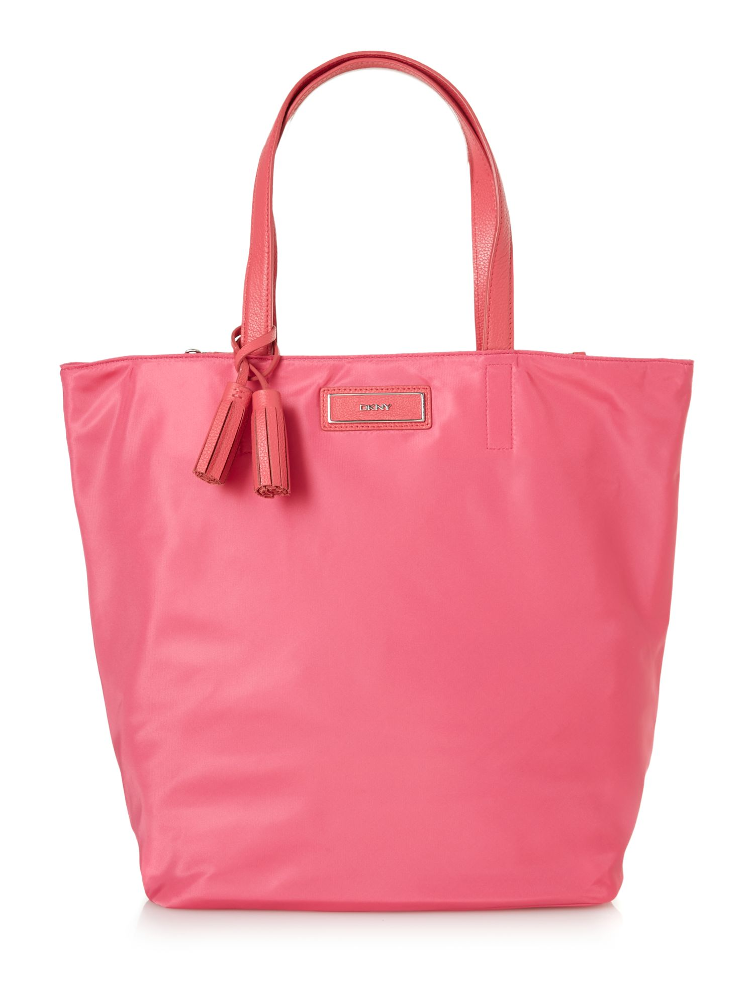 Nylon pink large tassel tote bag