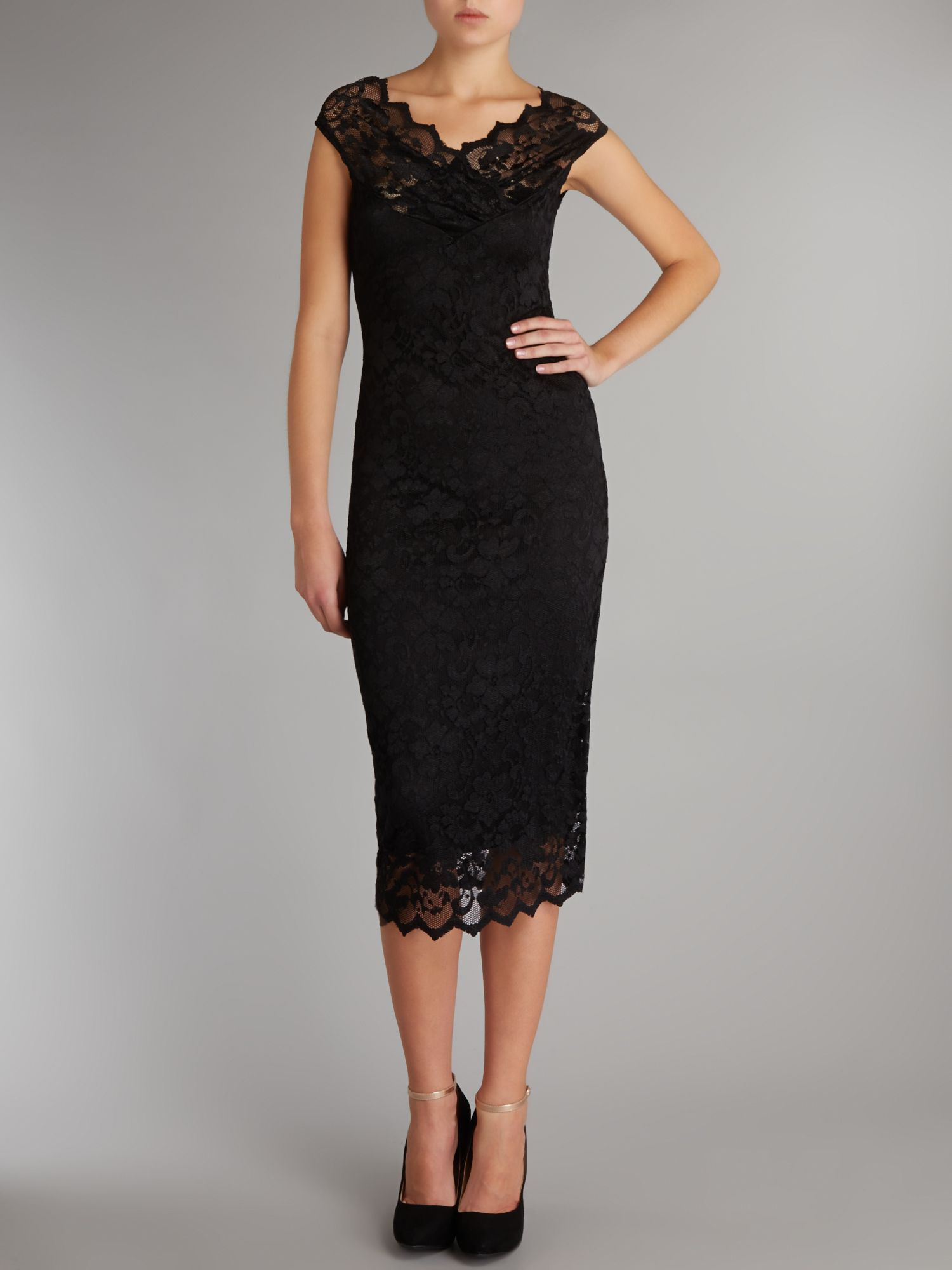 Cross over neck lace dress