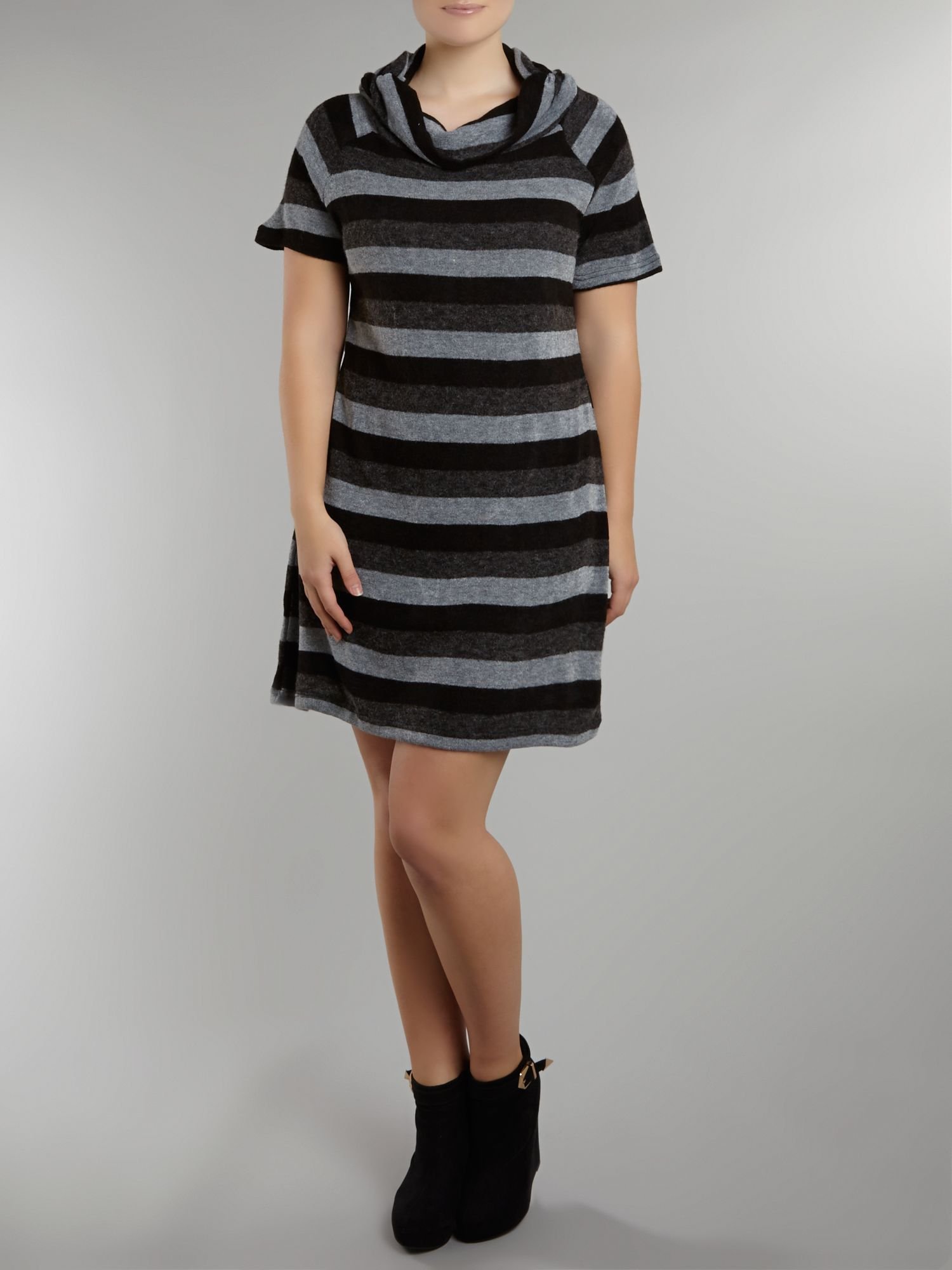 Wide collar stripe knit tunic dress