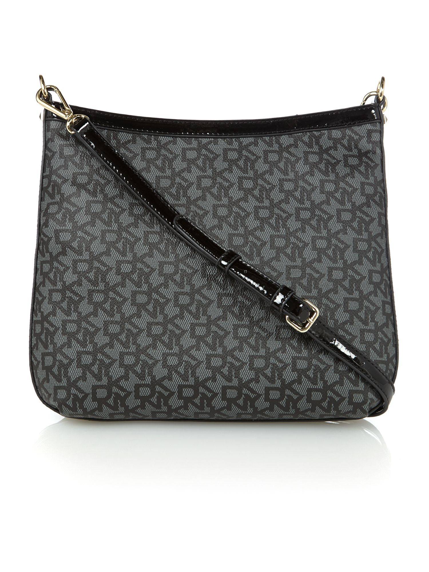 Coated logo black crossbody bag